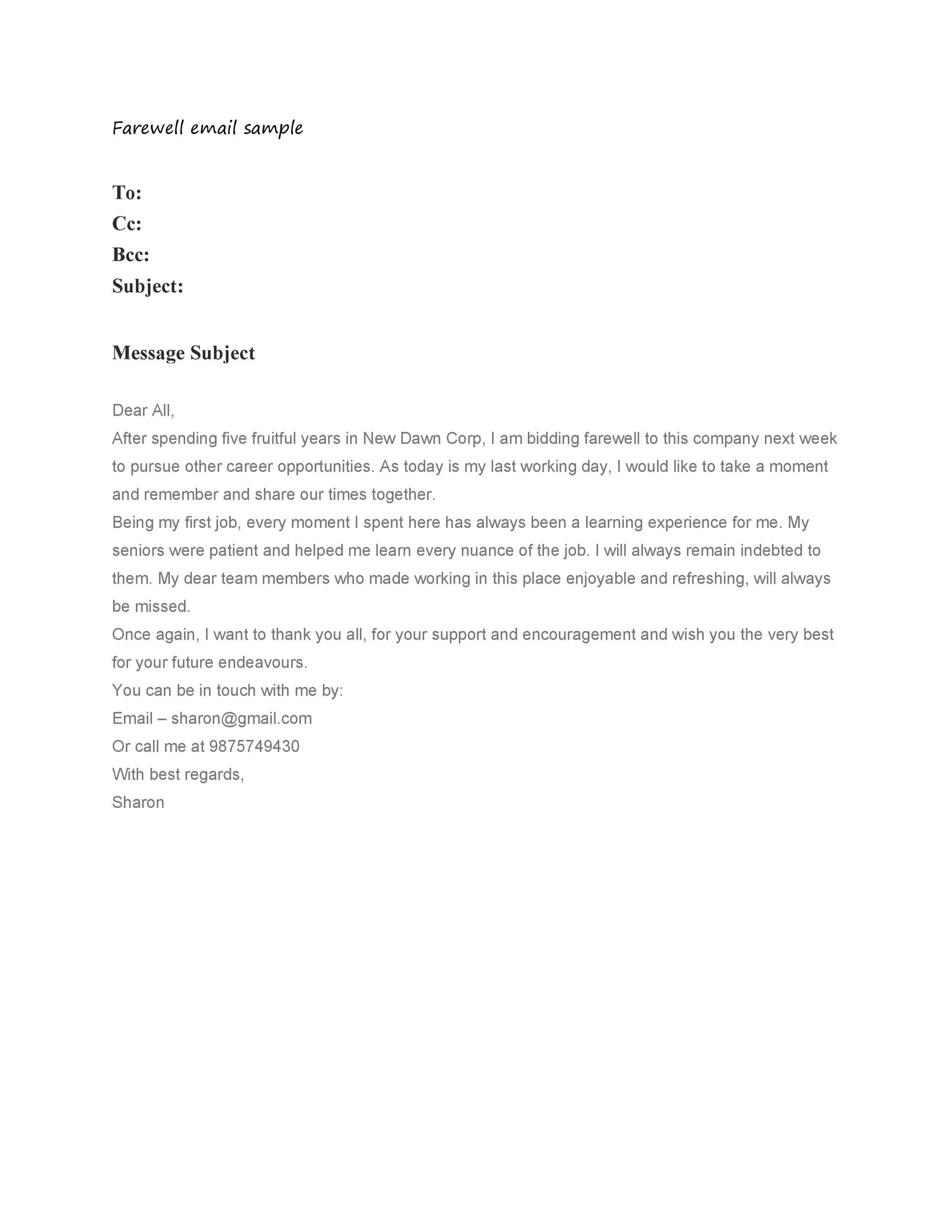 Free farewell email template 31
