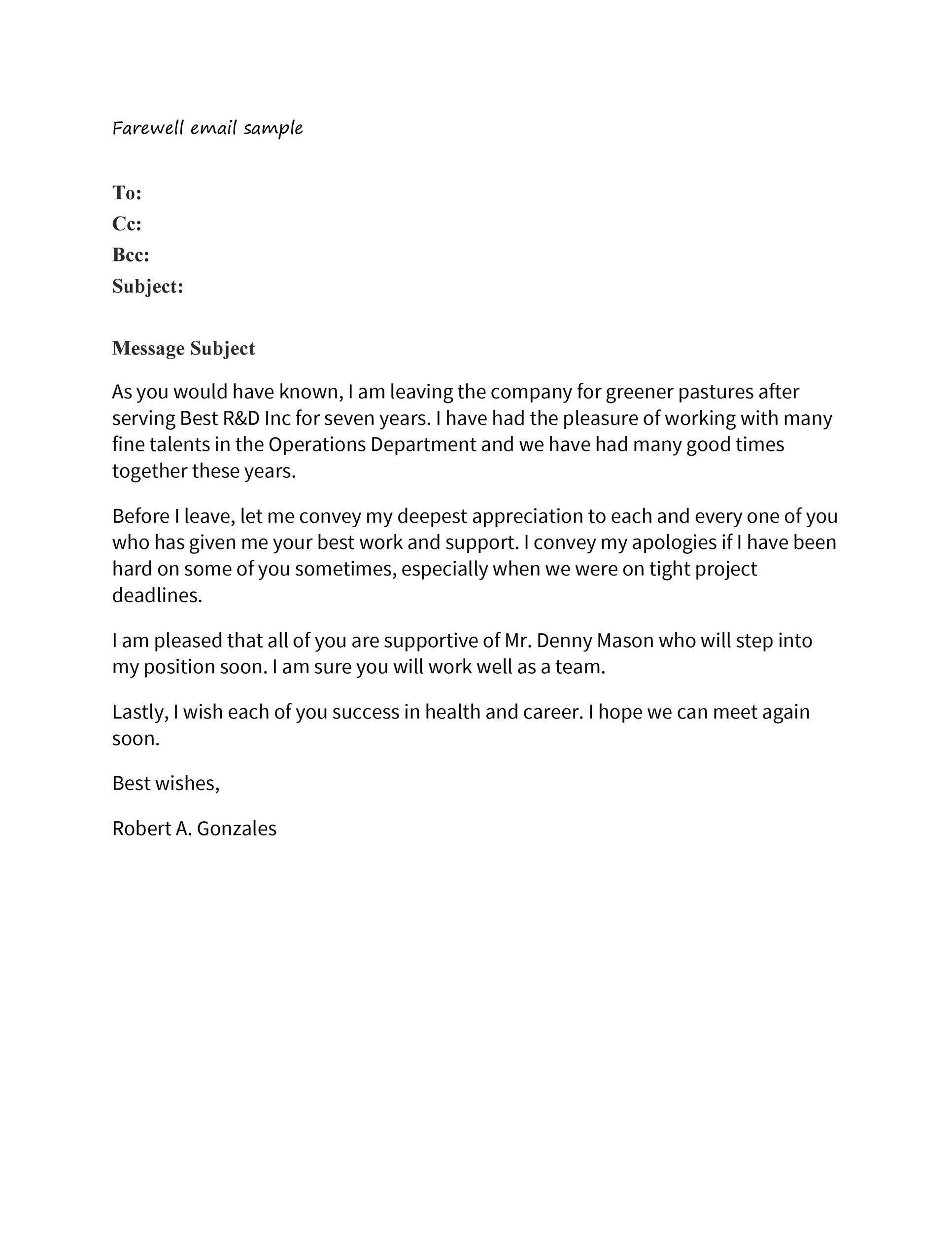 Free farewell email template 33