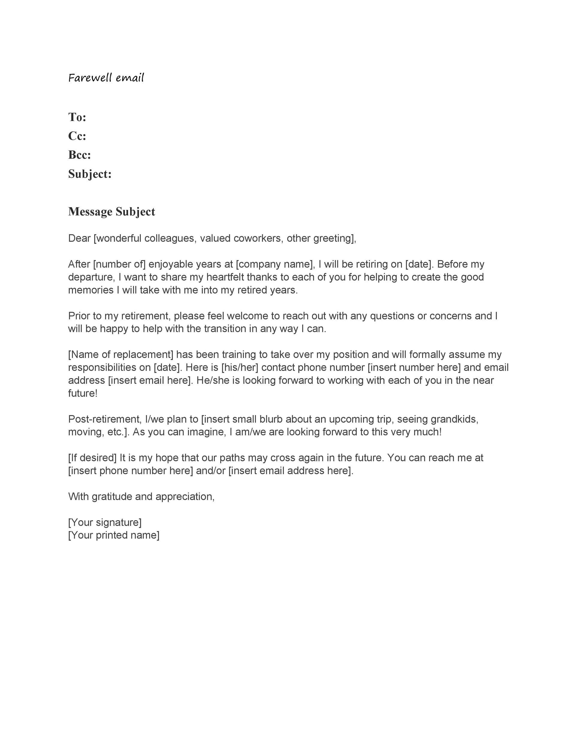 Free farewell email template 35