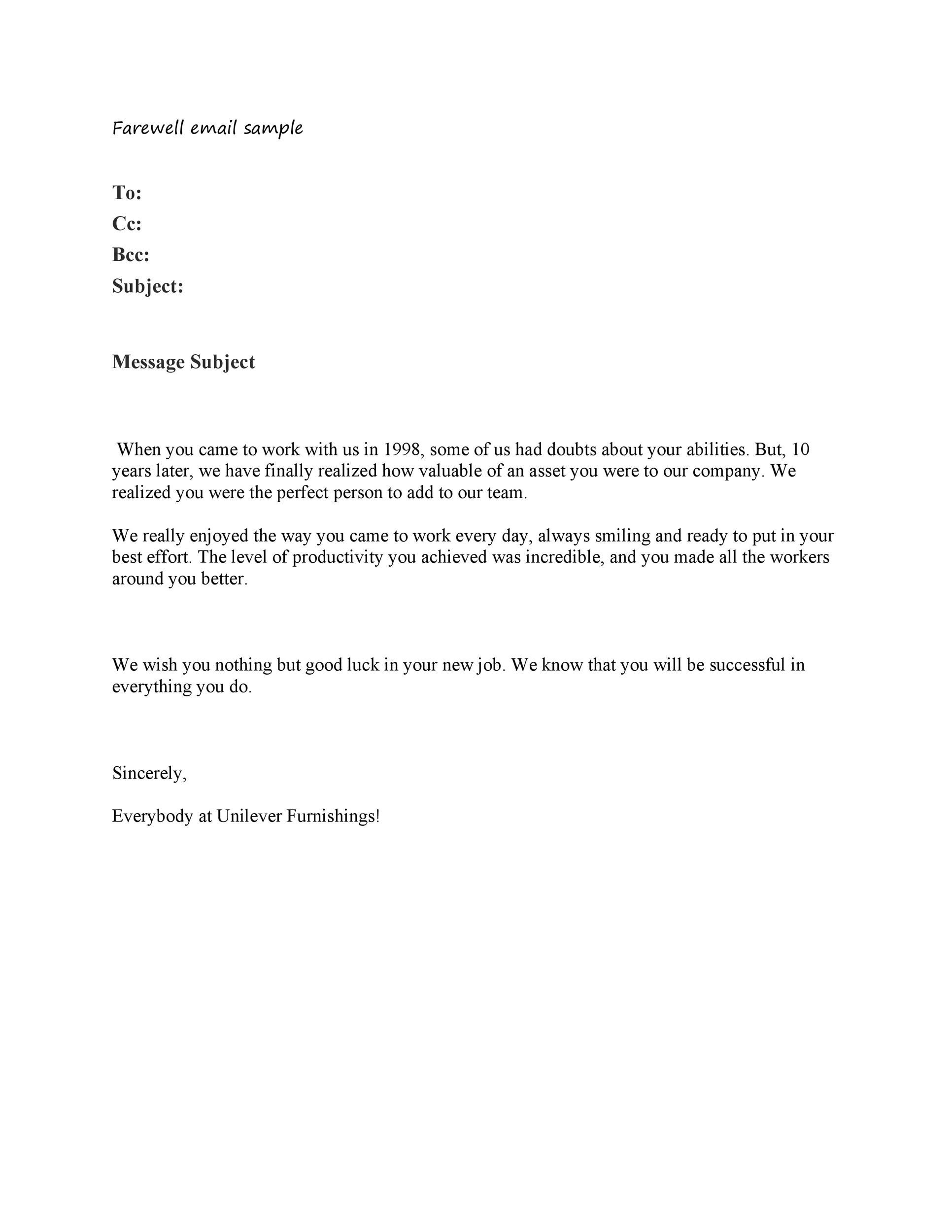 Example Farewell Letter Work