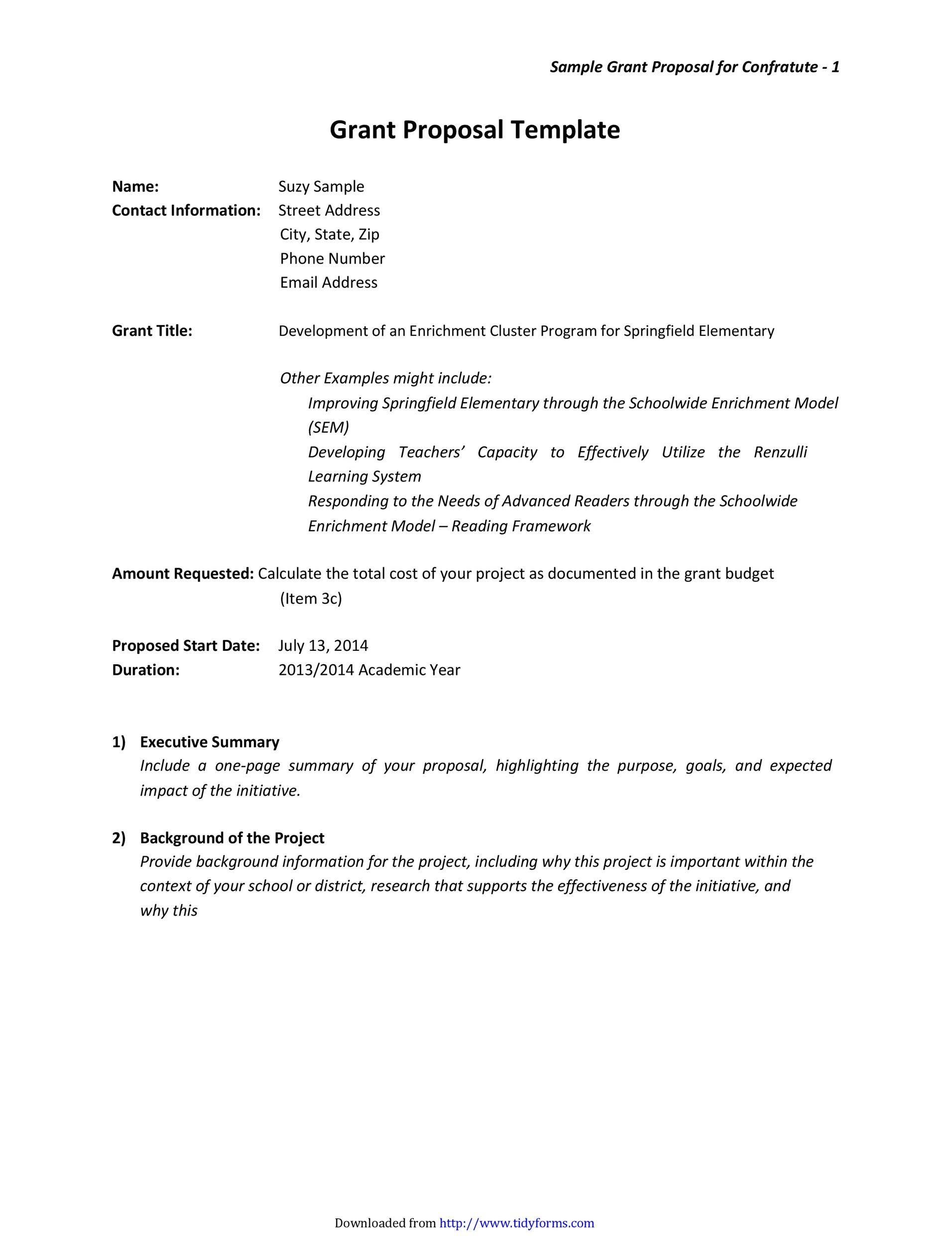 Contemporary Sample Grant Proposal Templates Elaboration Resume