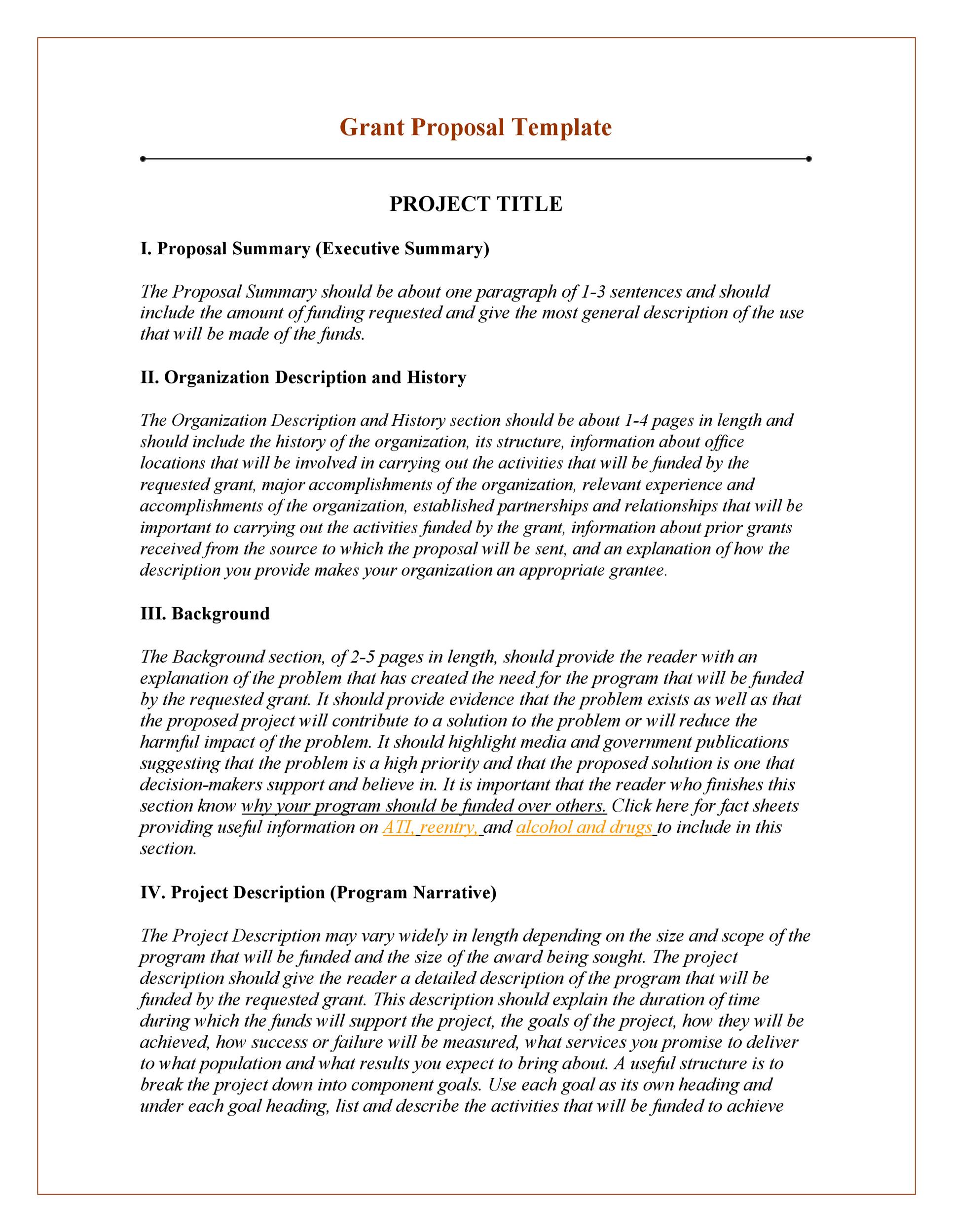 Printable Grant Proposal Template 07  Executive Summary Proposal Template