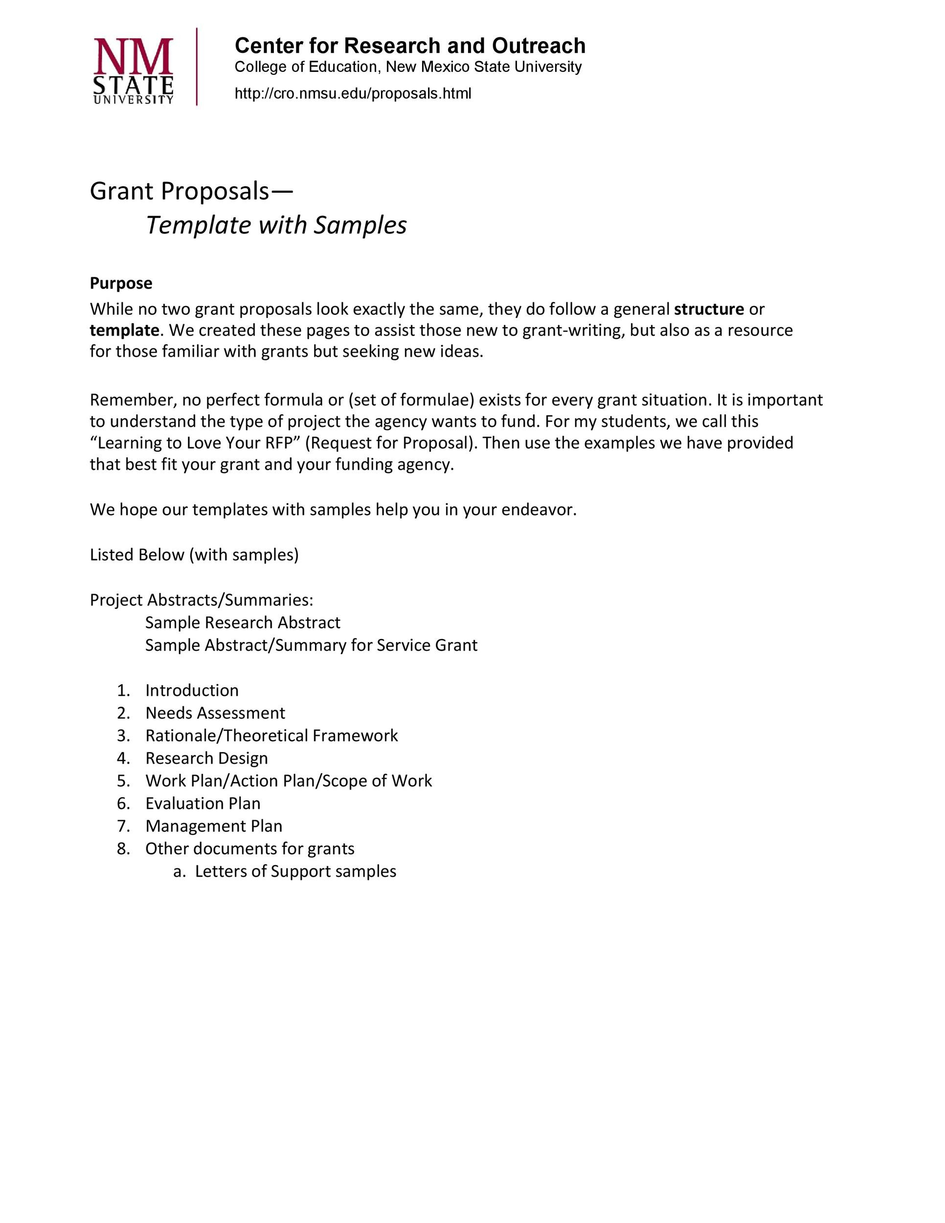 40 Grant Proposal Templates NSF NonProfit Research Template Lab