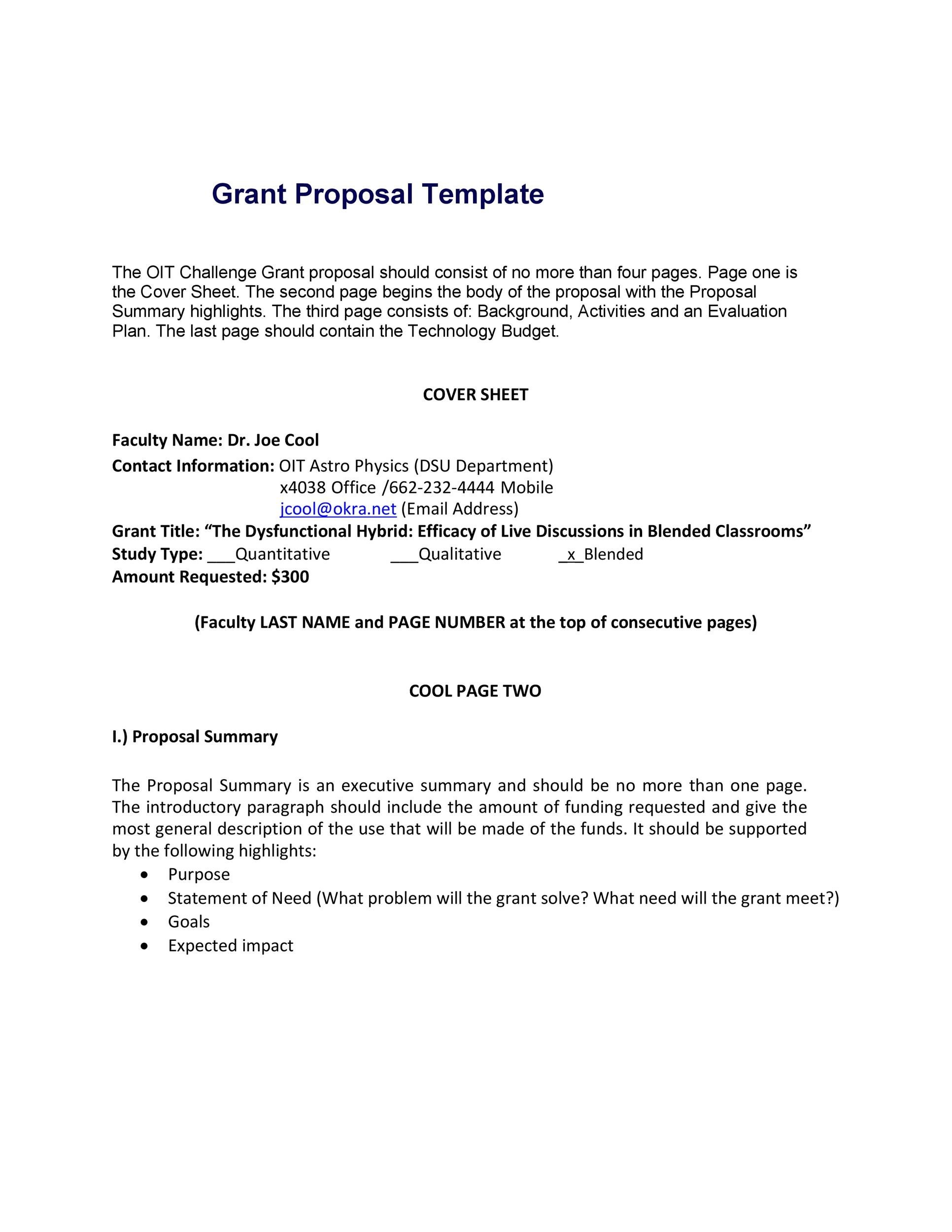 Free grant proposal template  34