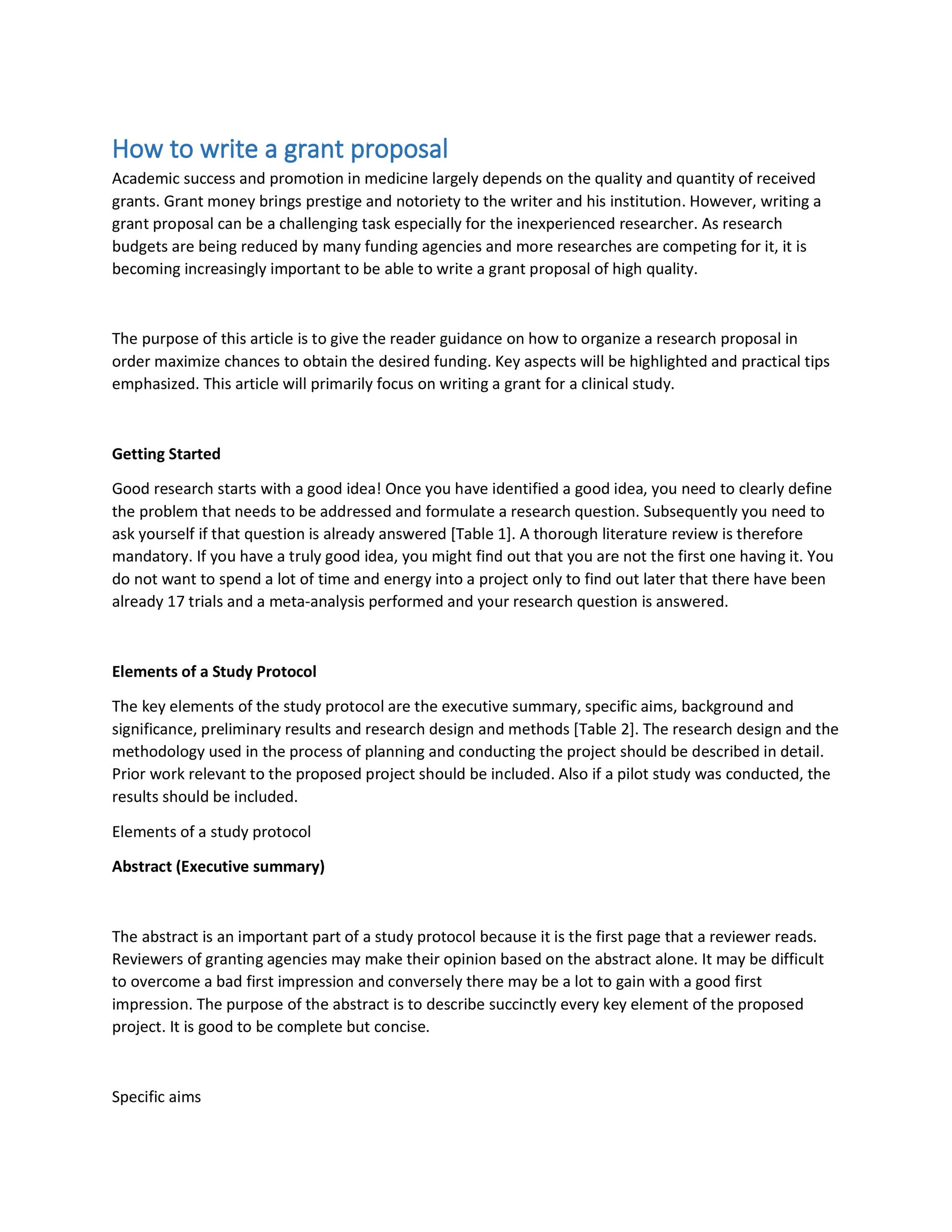 Free grant proposal template  39