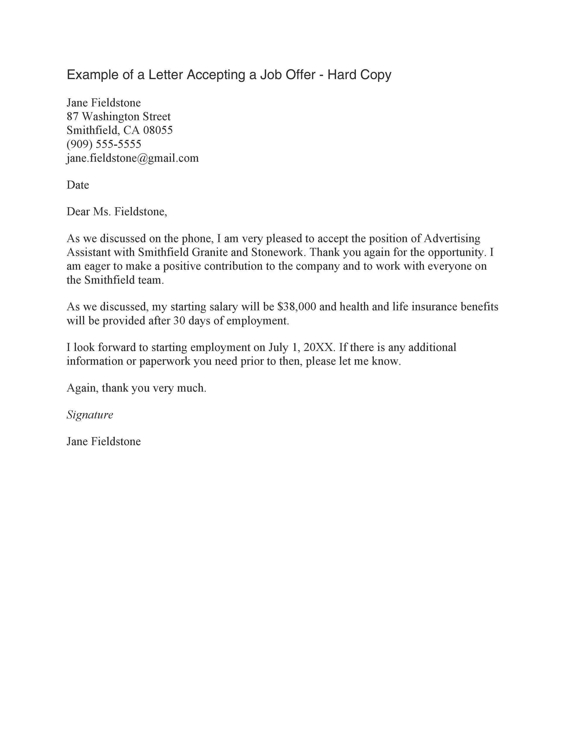 sample letter to accept a job offer