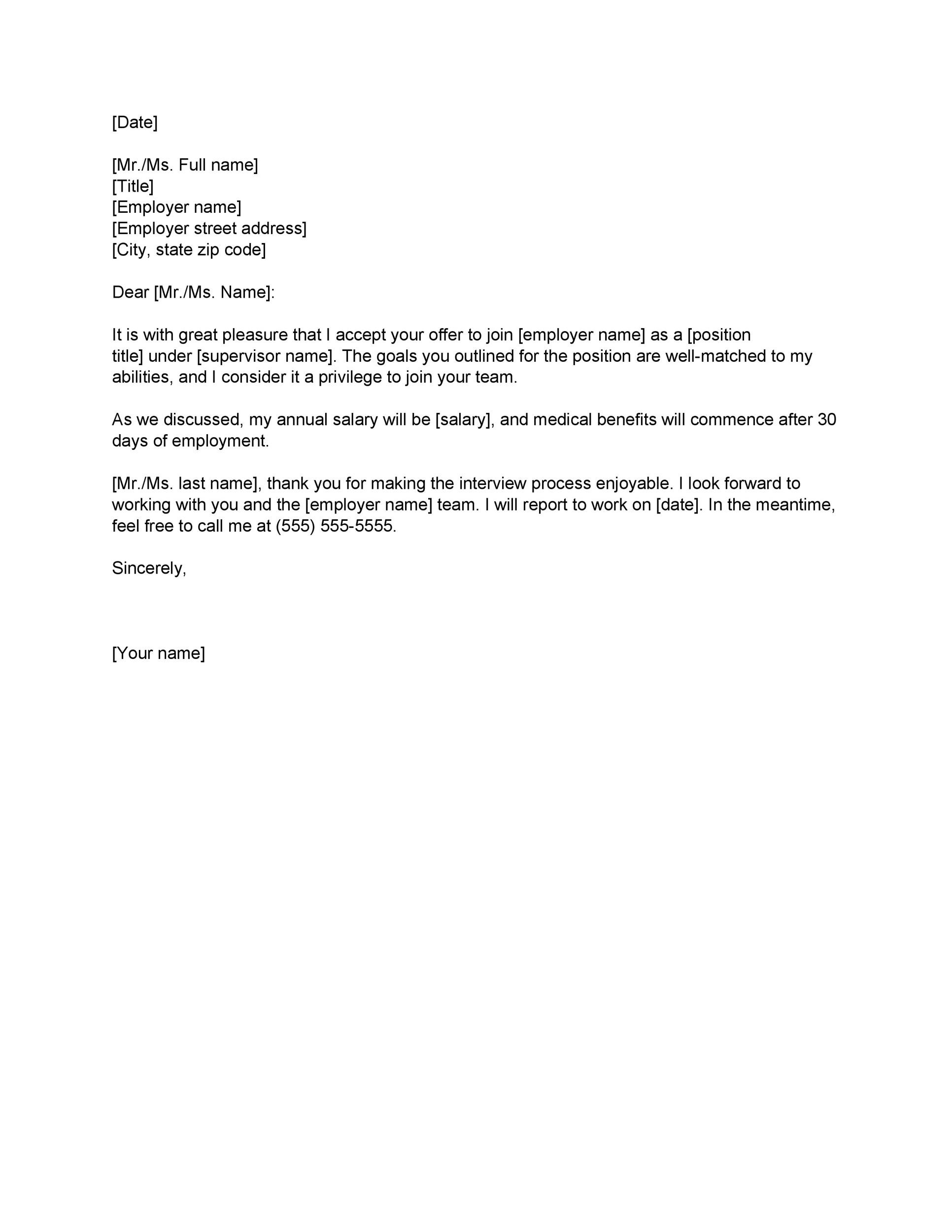 Job Offer Letter Content | 40 Professional Job Offer Acceptance Letter Email Templates