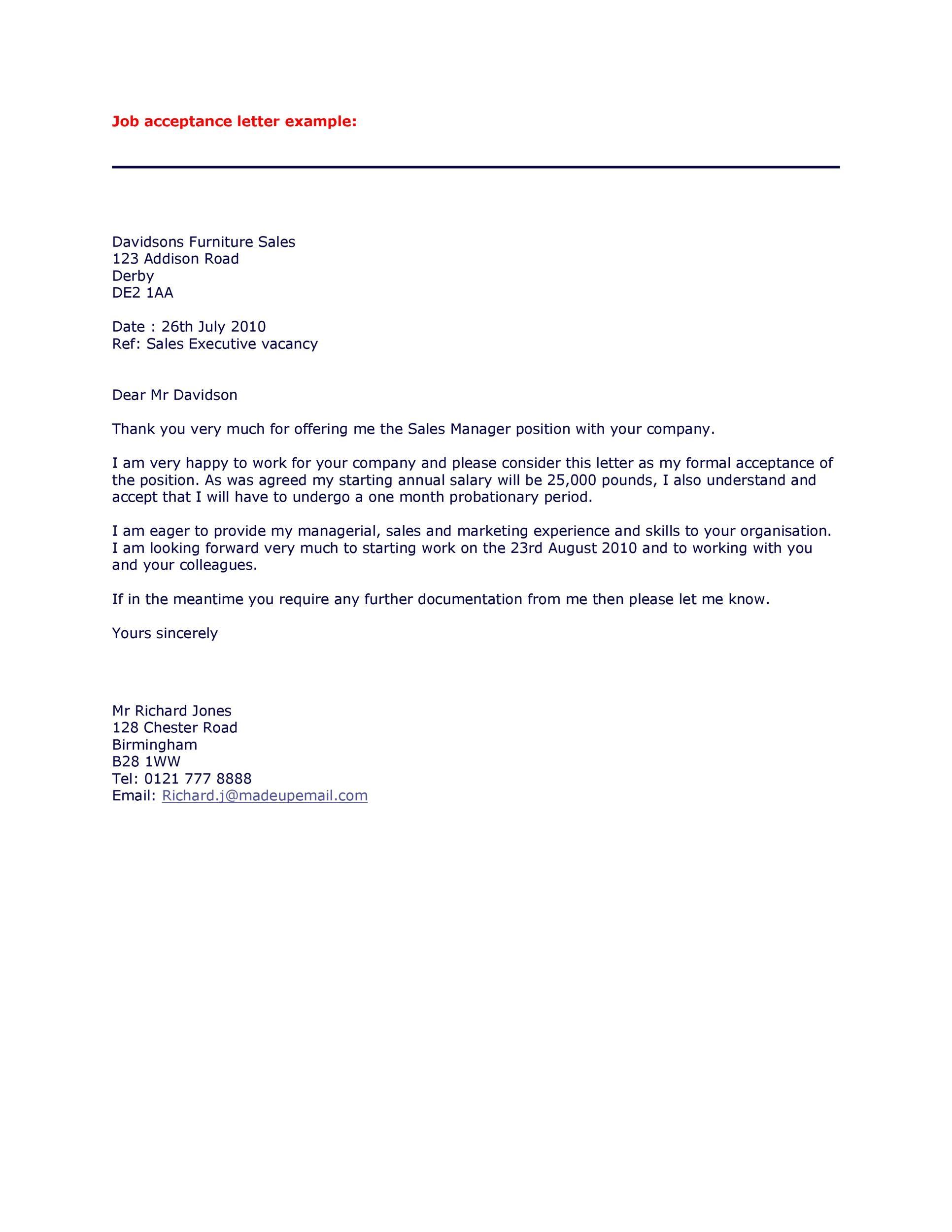 Free job acceptance letter 04