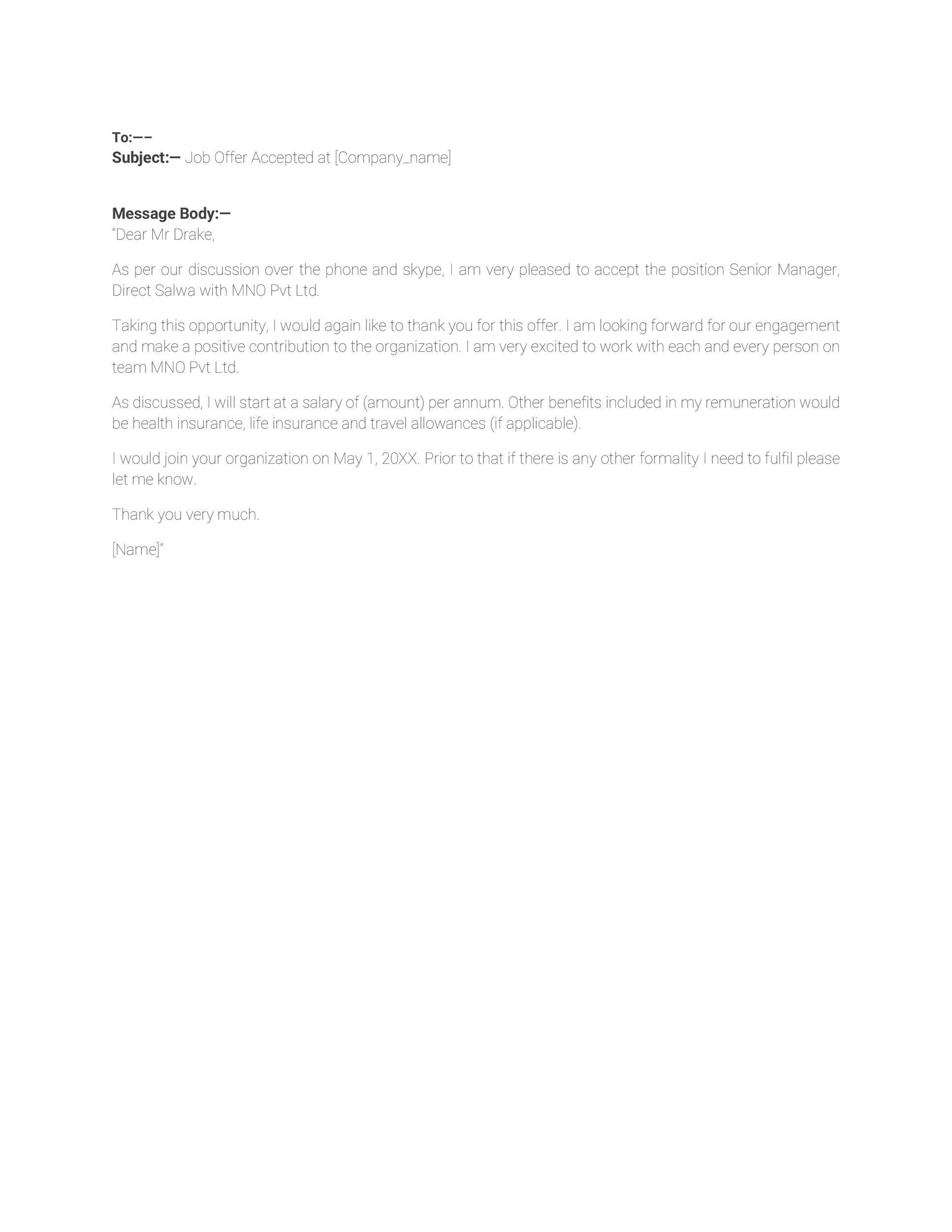 Free job acceptance letter 07