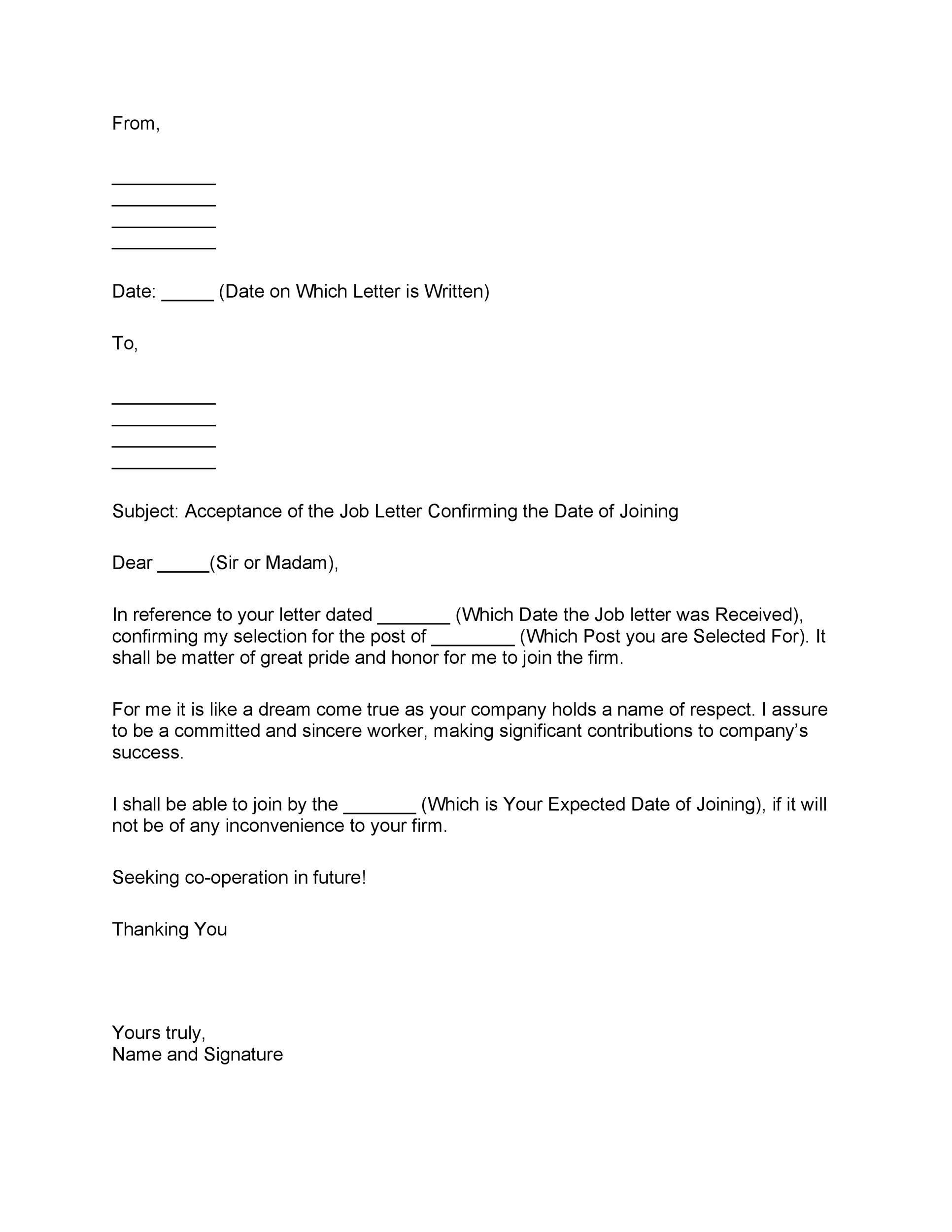 Free job acceptance letter 08