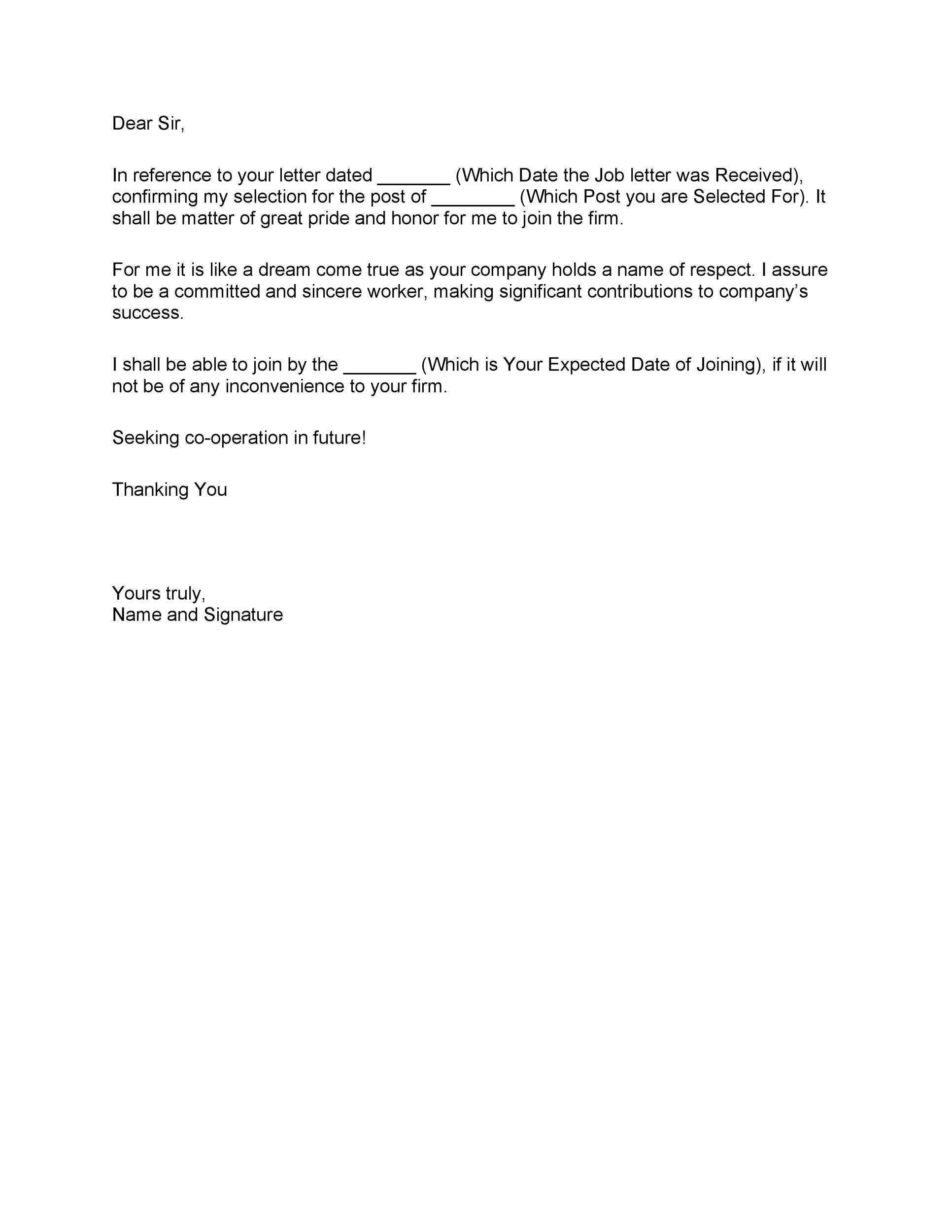 Free job acceptance letter 10