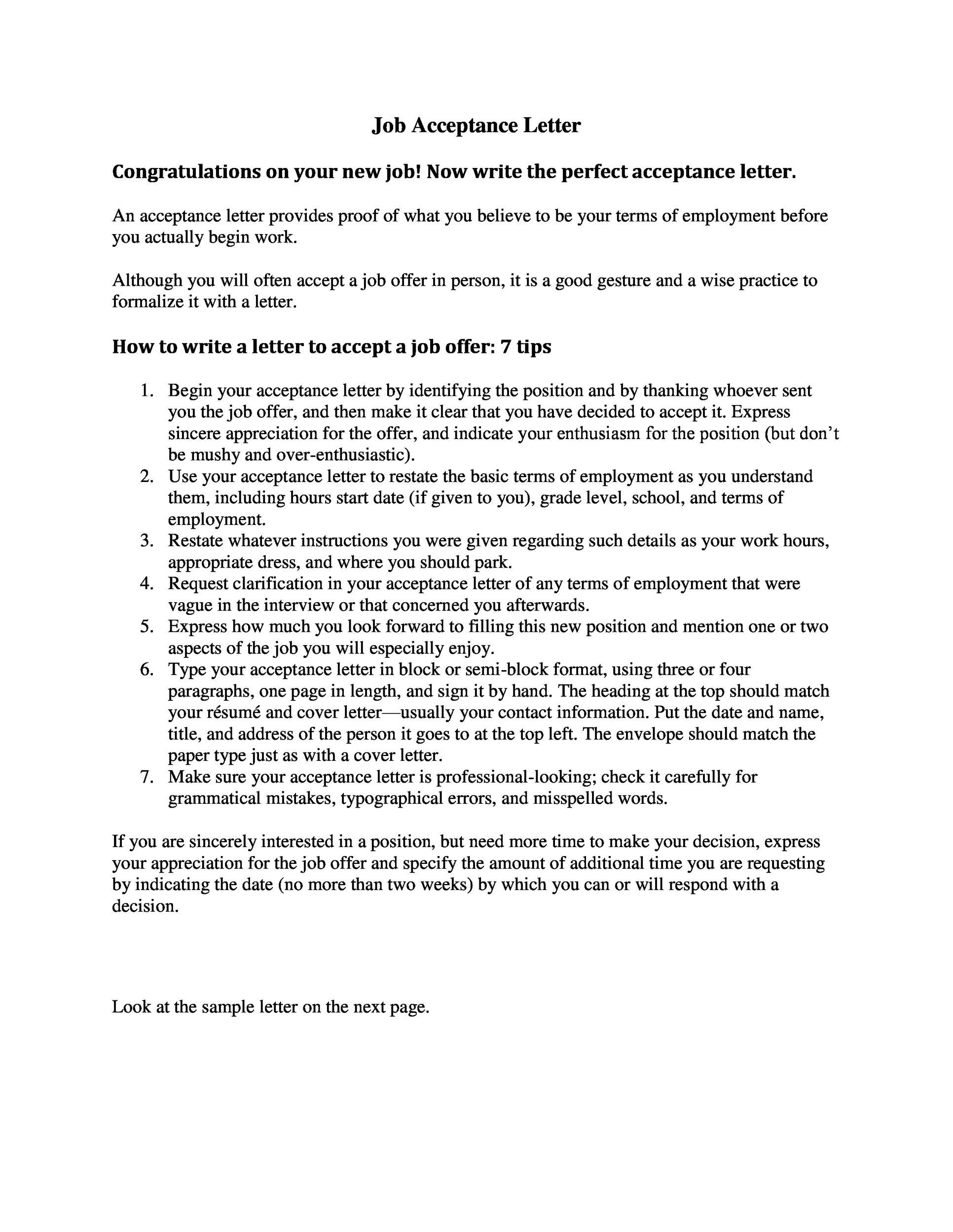 Free job acceptance letter 12
