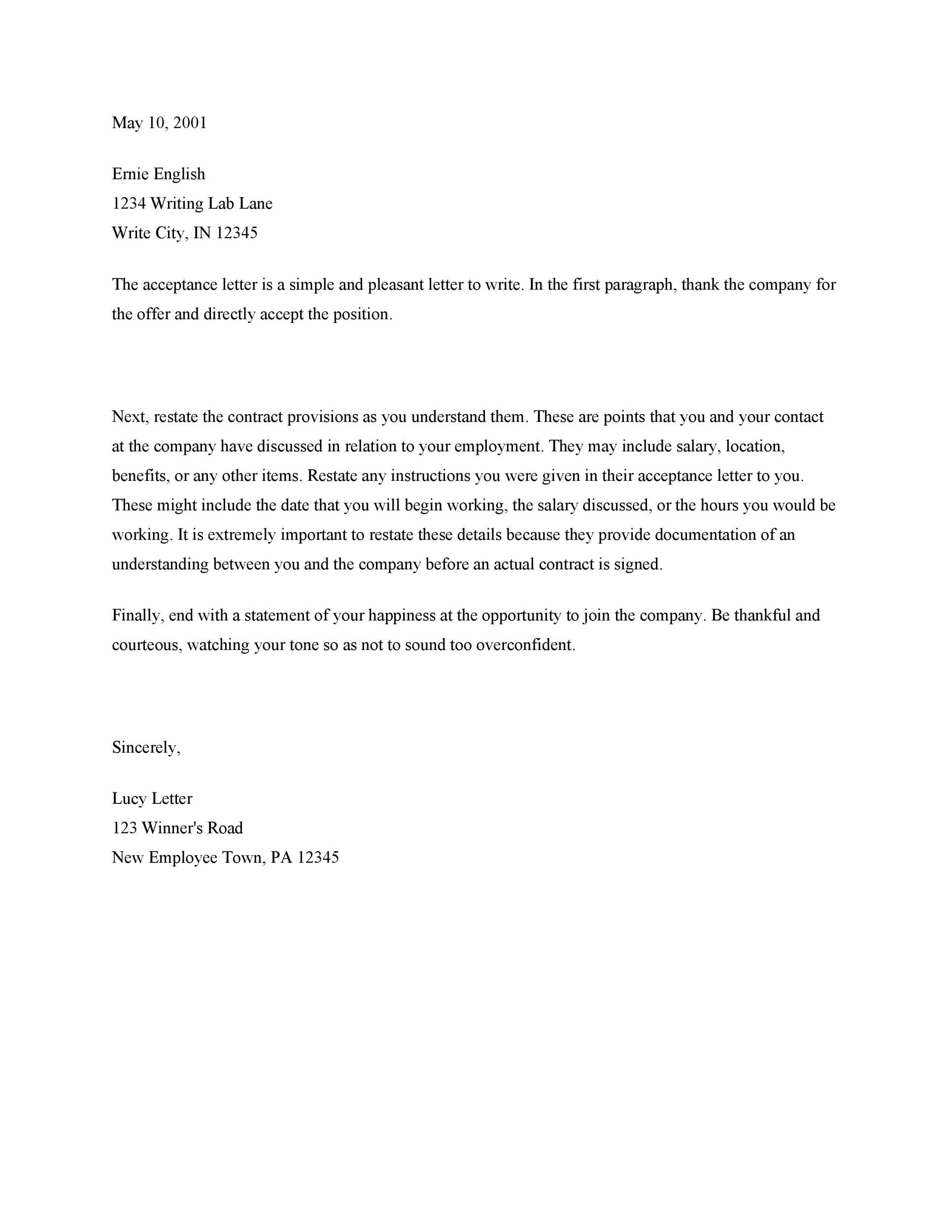 Professional Job Offer Acceptance Letter  Email Templates