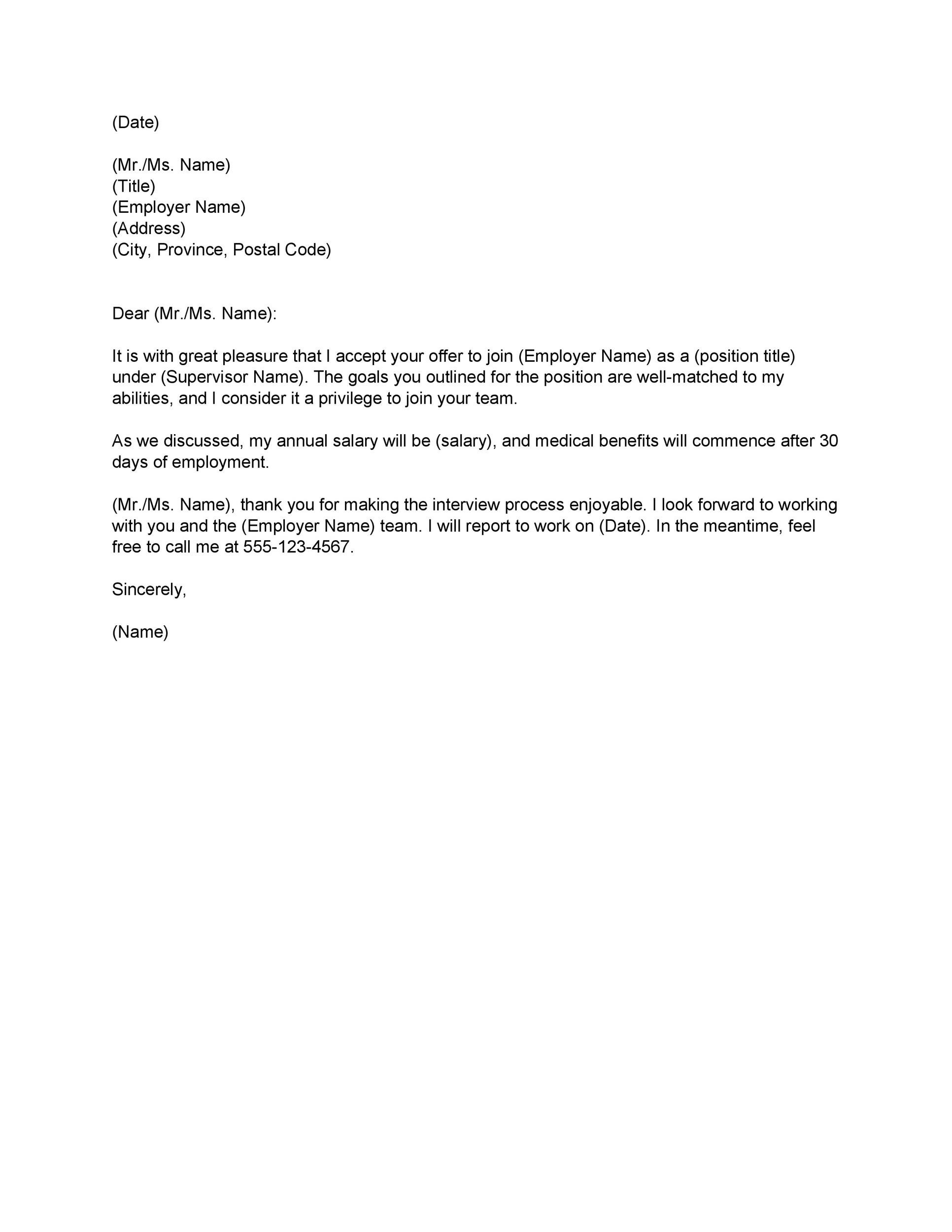 Employment Acceptance Letter | 40 Professional Job Offer Acceptance Letter Email Templates
