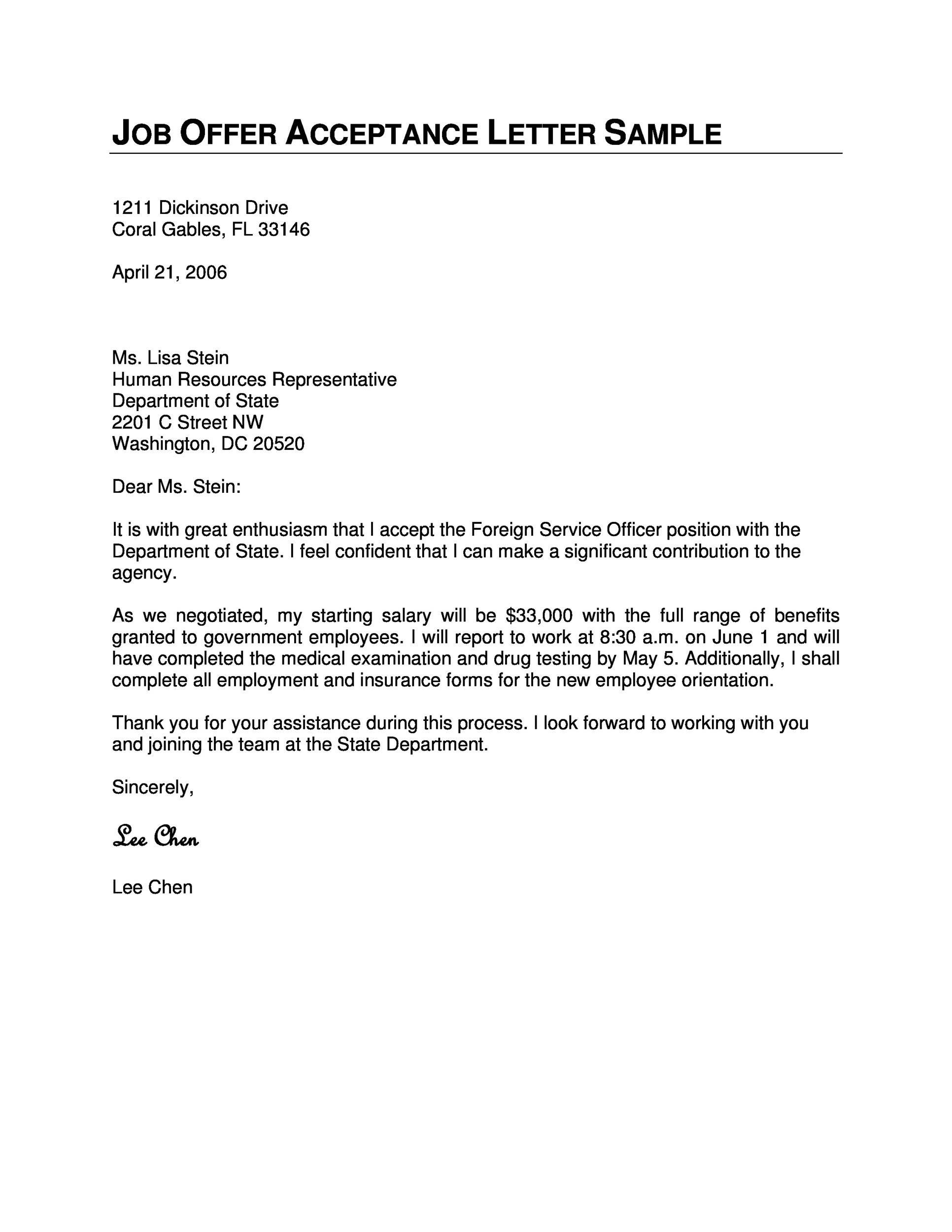Free job acceptance letter 15