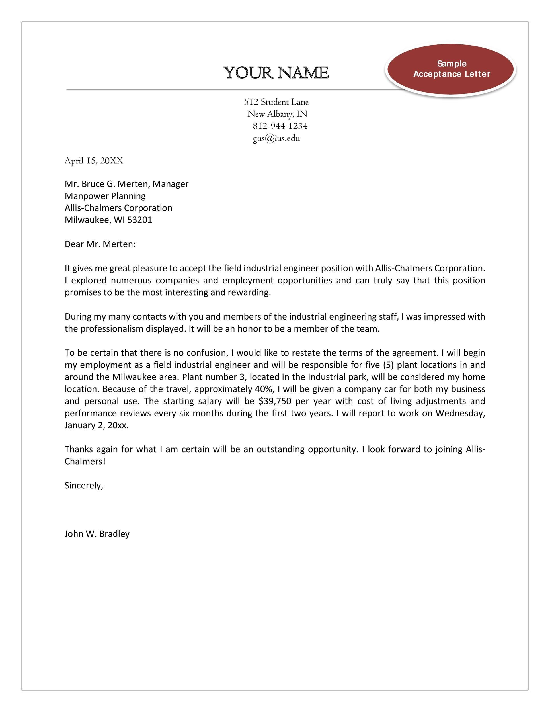 Free job acceptance letter 16