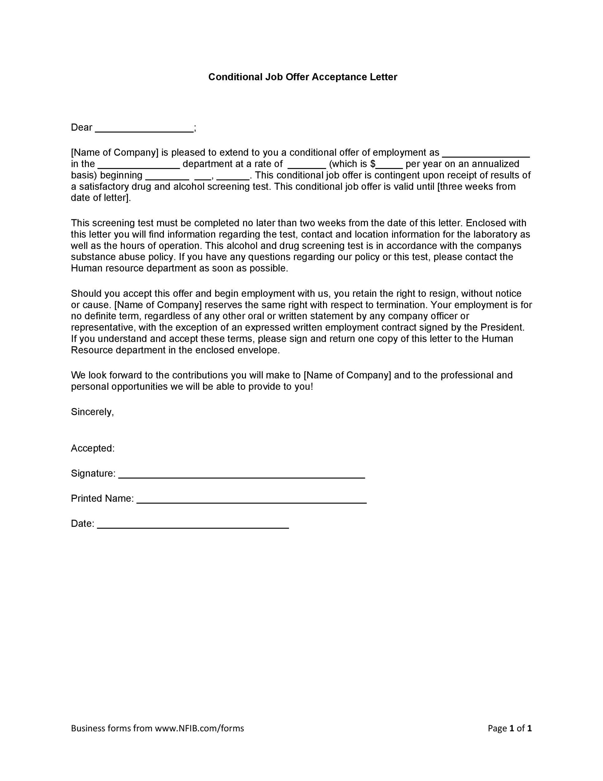 Free job acceptance letter 20