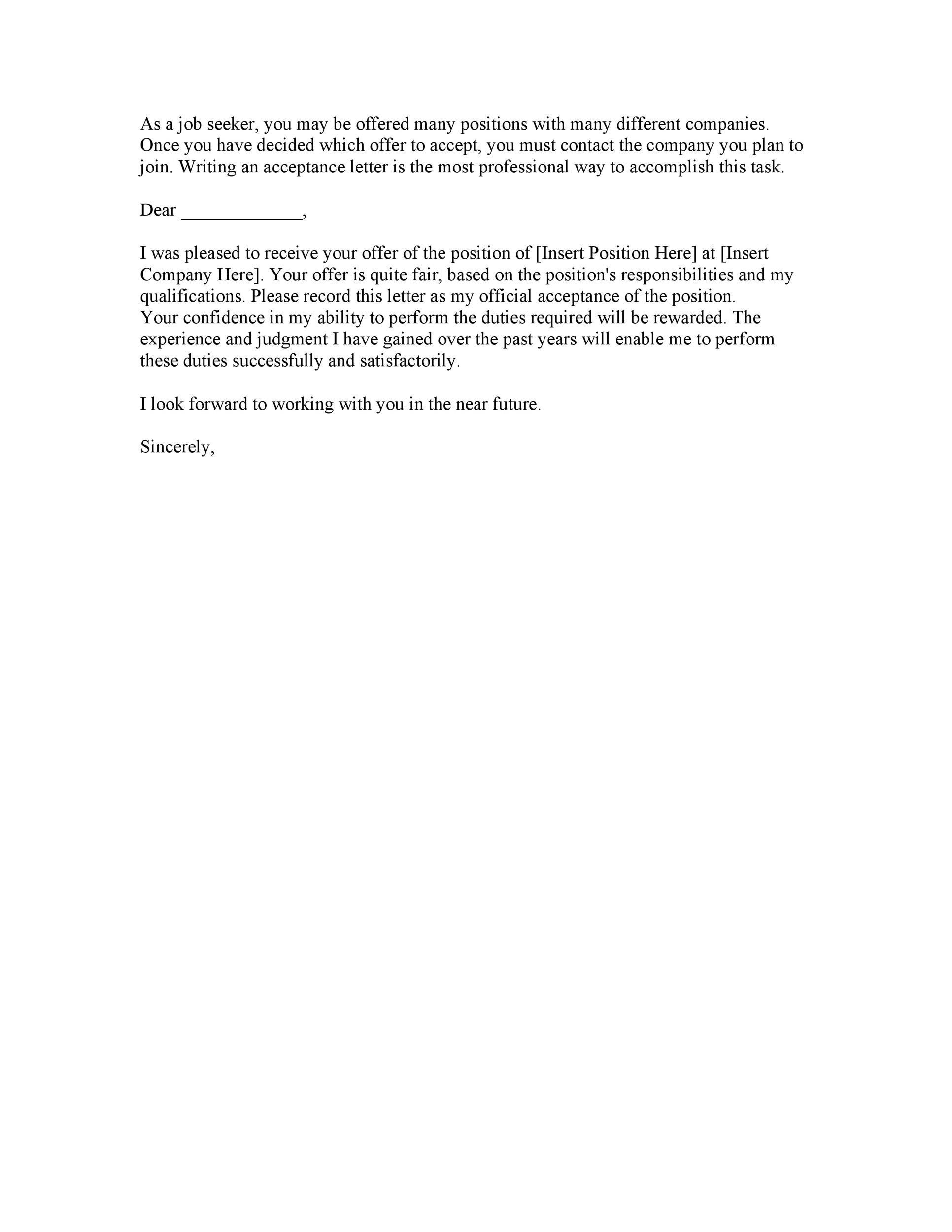 Free job acceptance letter 24
