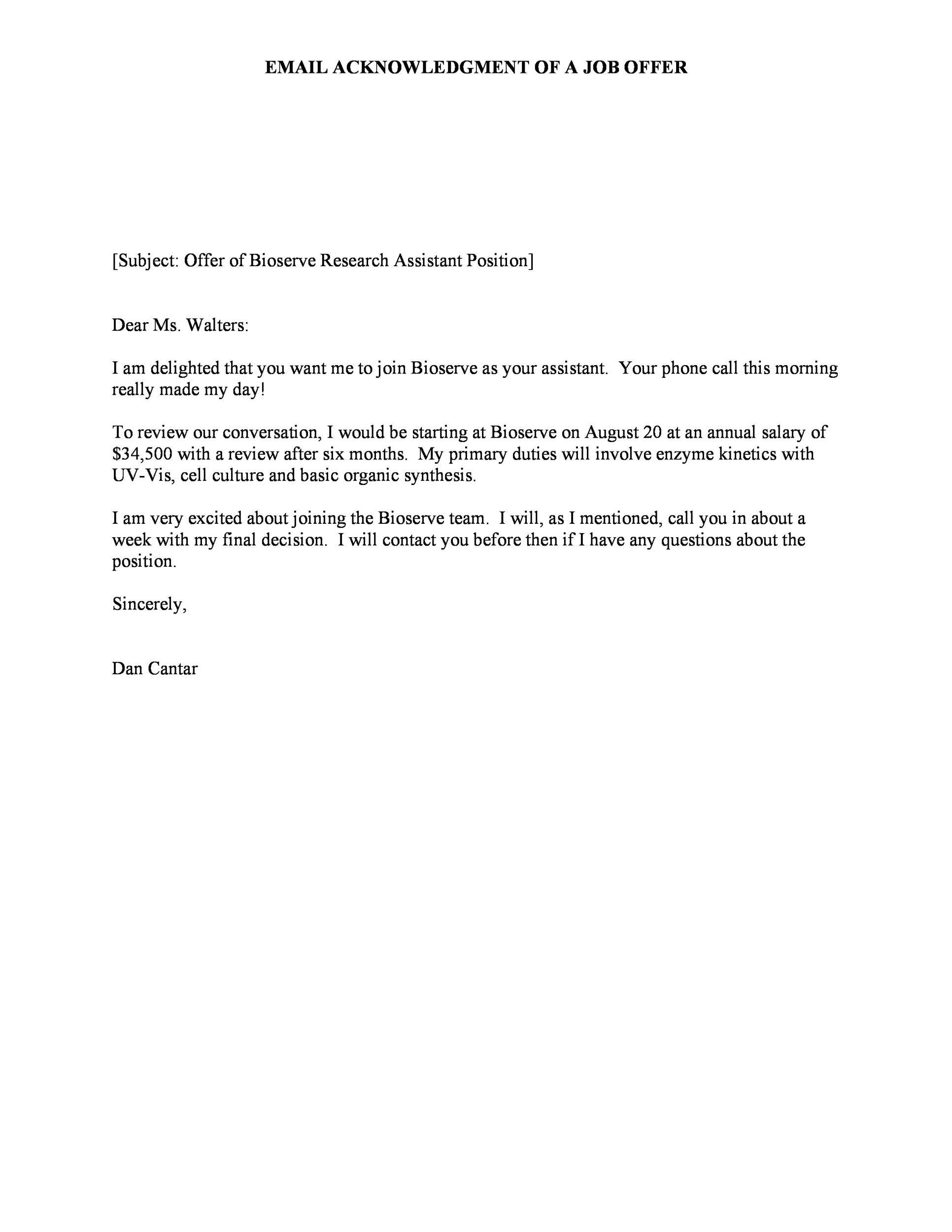 Free job acceptance letter 25