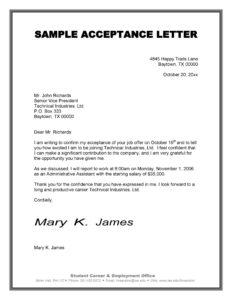 job acceptance letter 26