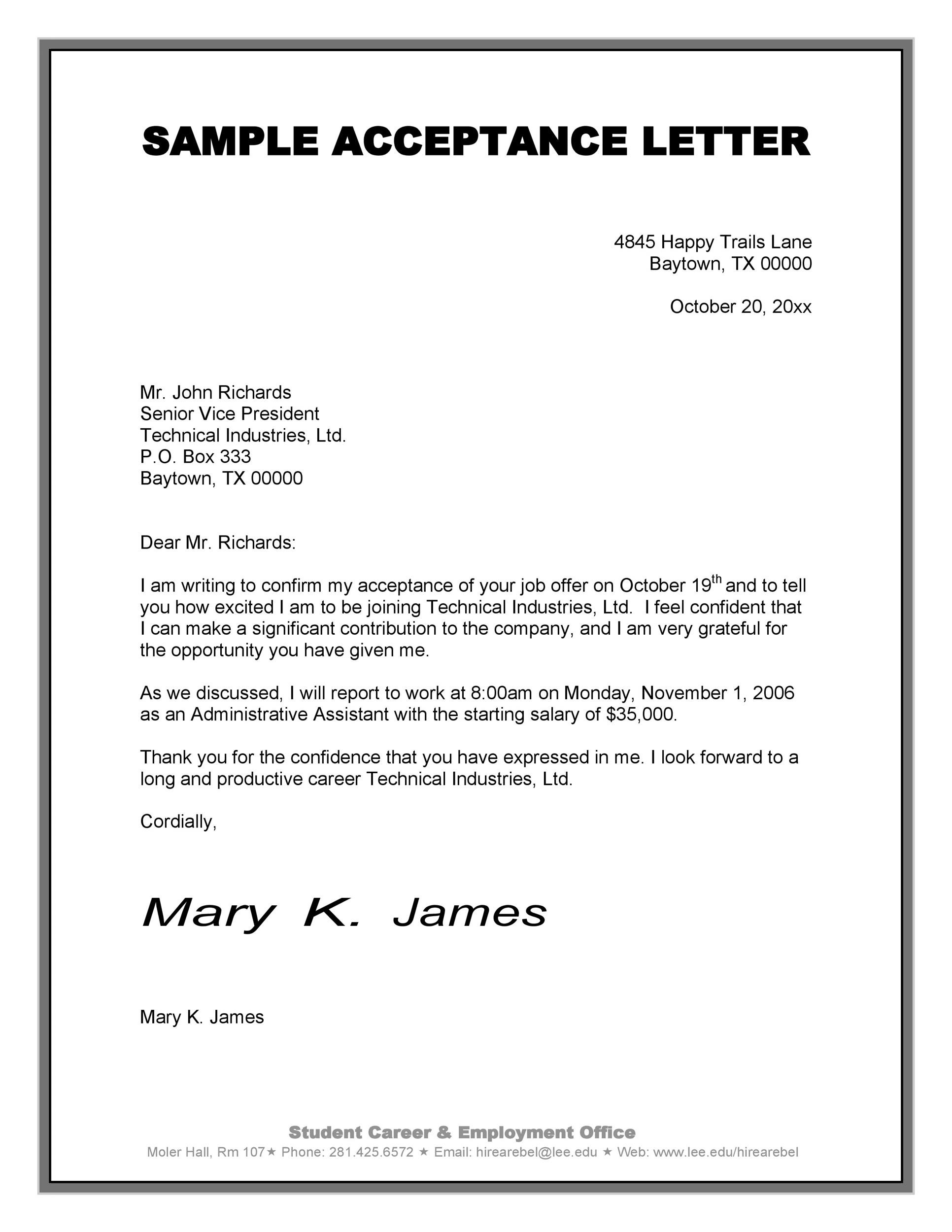job offer acceptance letter 40 professional offer acceptance letter amp email 22639
