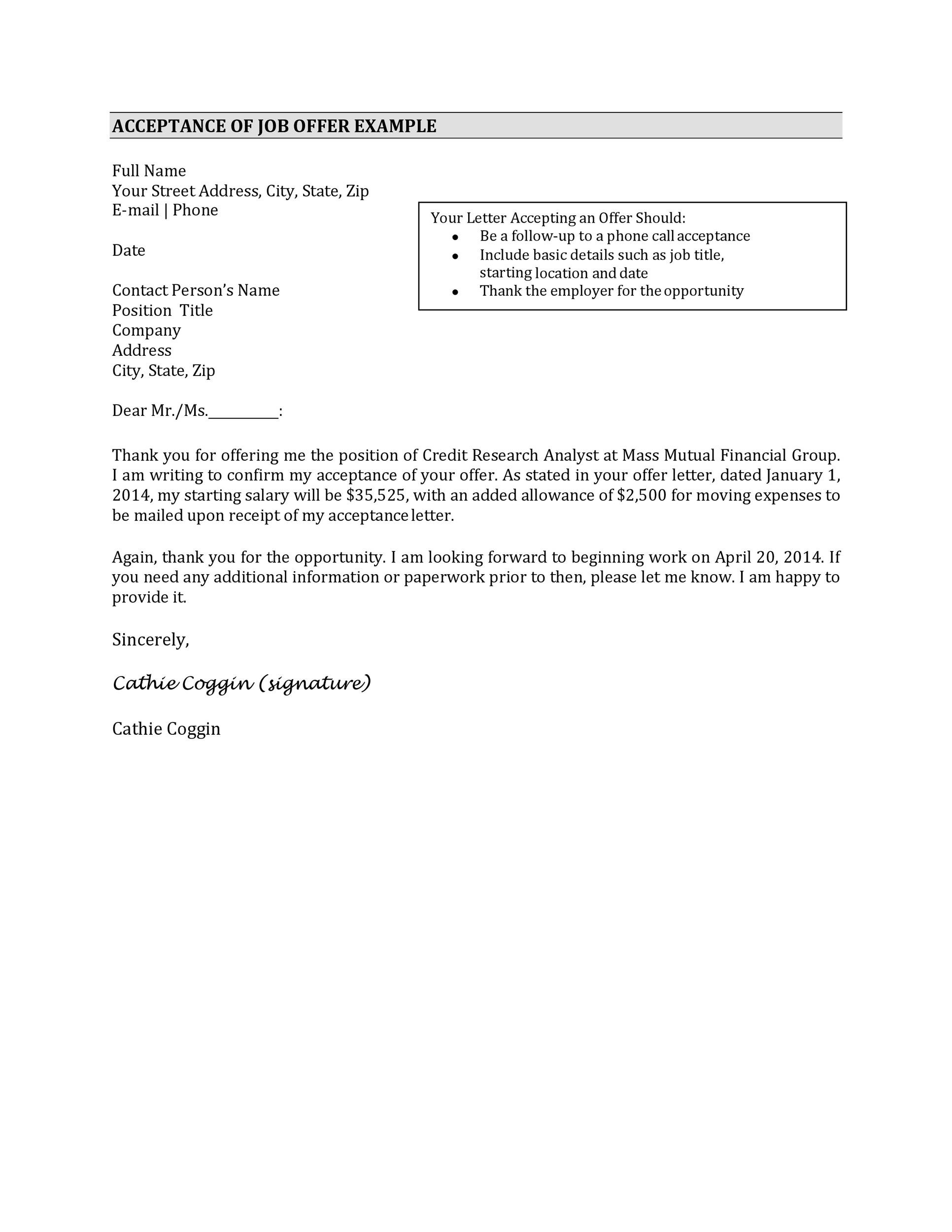 Free job acceptance letter 27