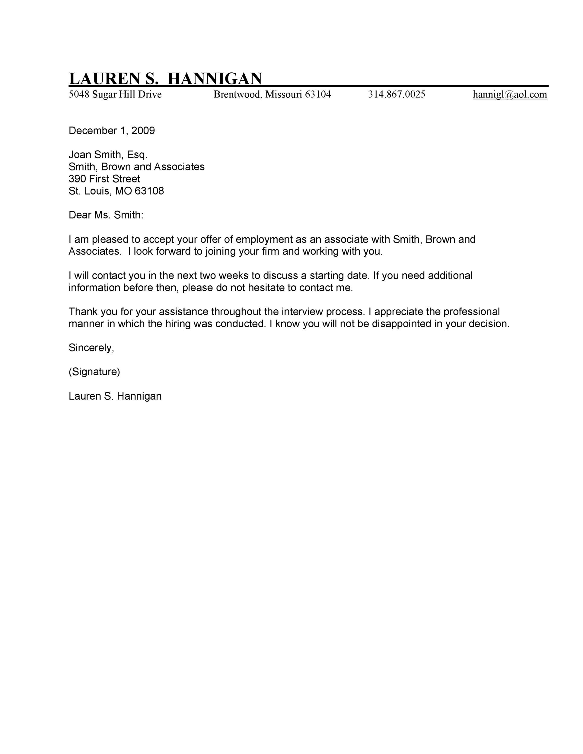 employment offer letter template 40 professional offer acceptance letter amp email 21501