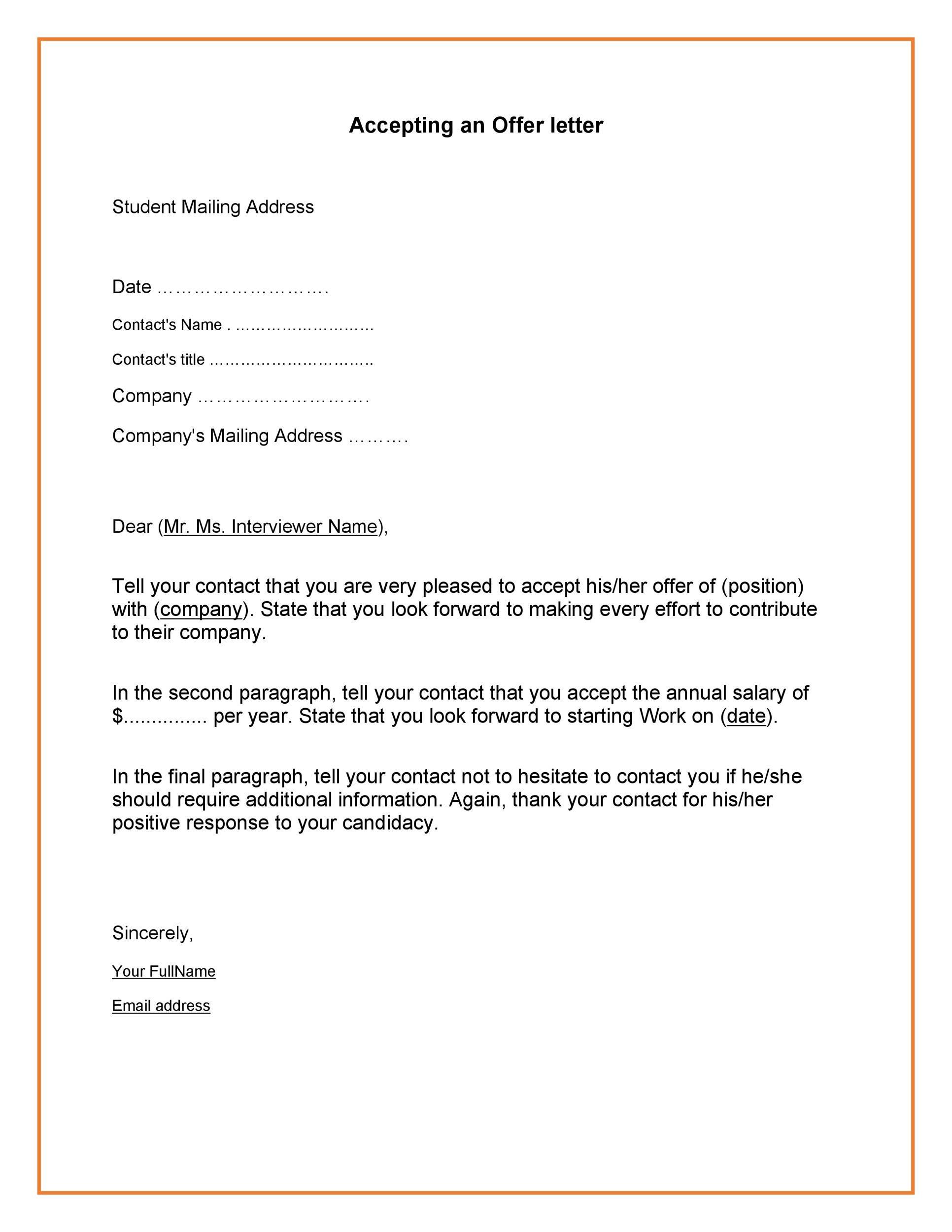 Free job acceptance letter 34