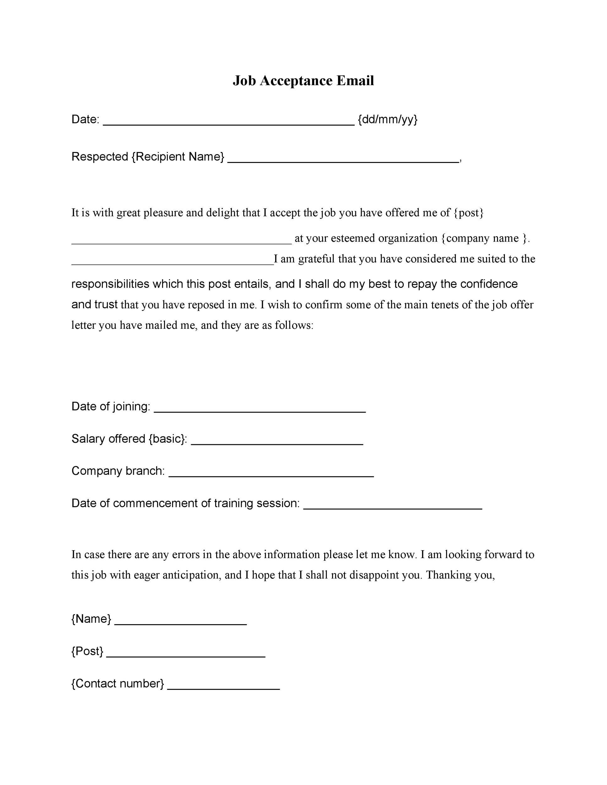Free job acceptance letter 37