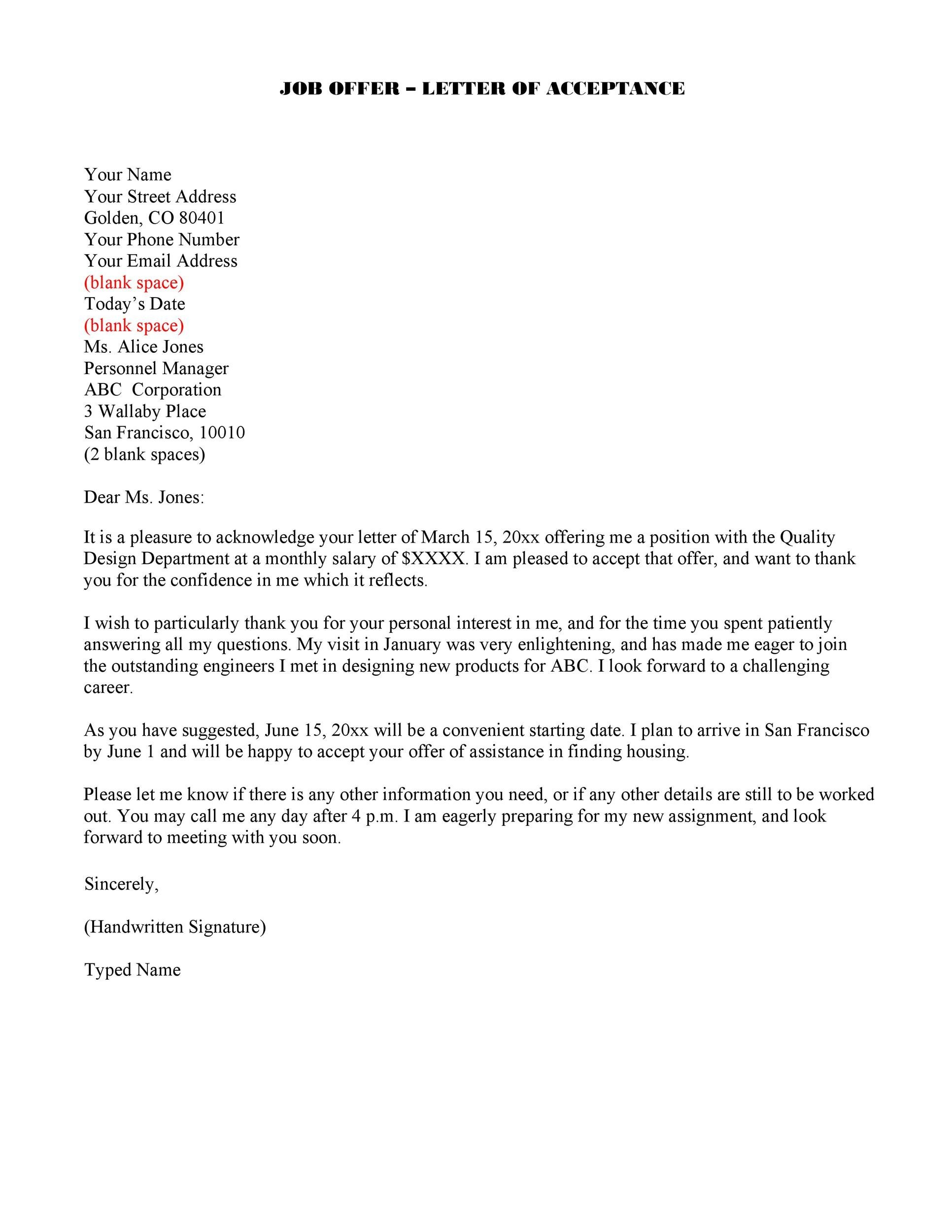 Free job acceptance letter 38