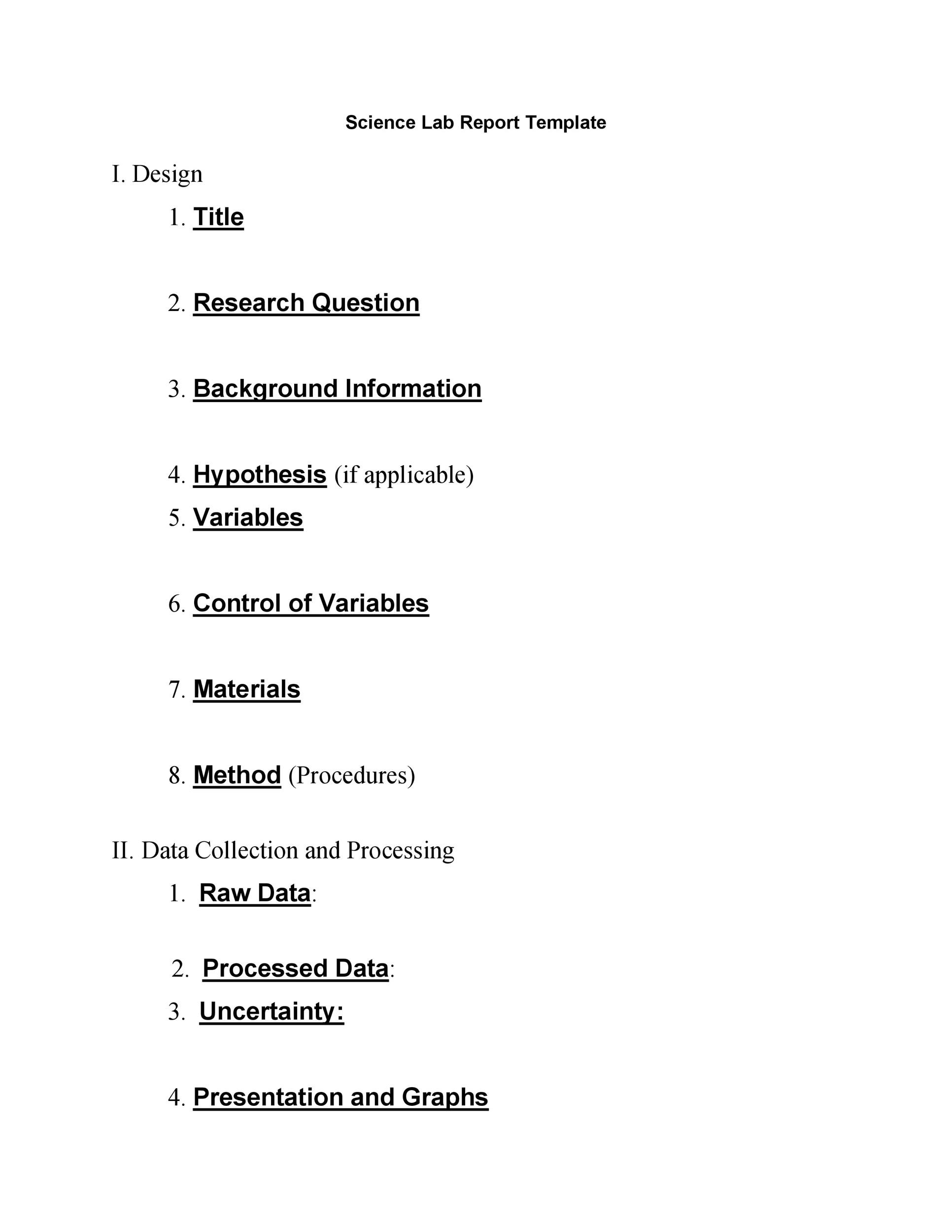 Free lab report template 02