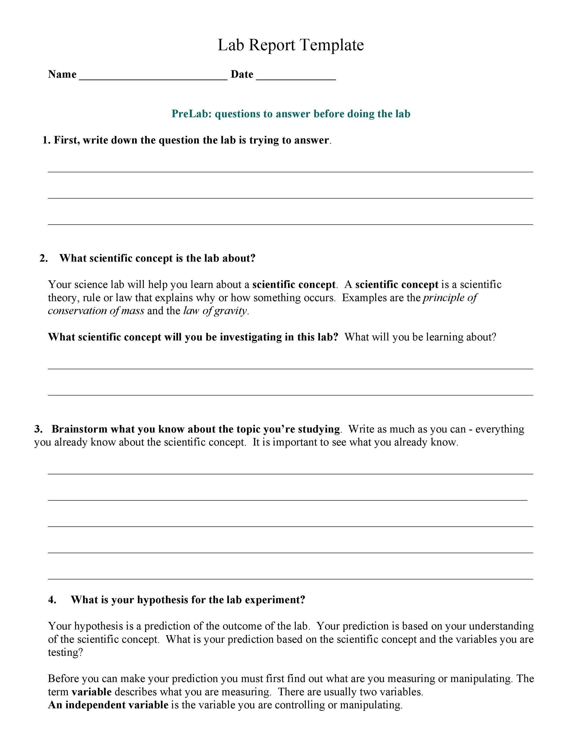 Free lab report template 03