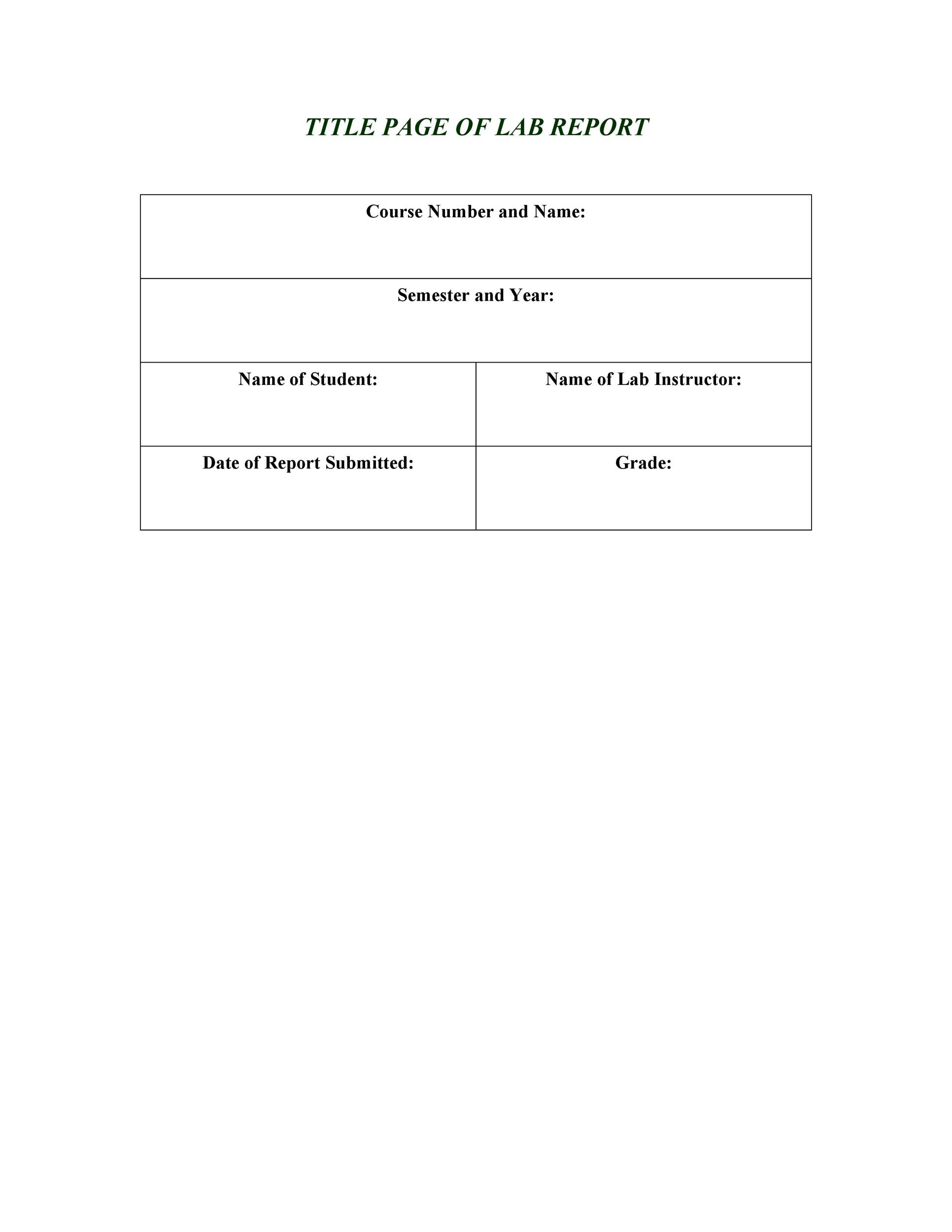 Free lab report template 06