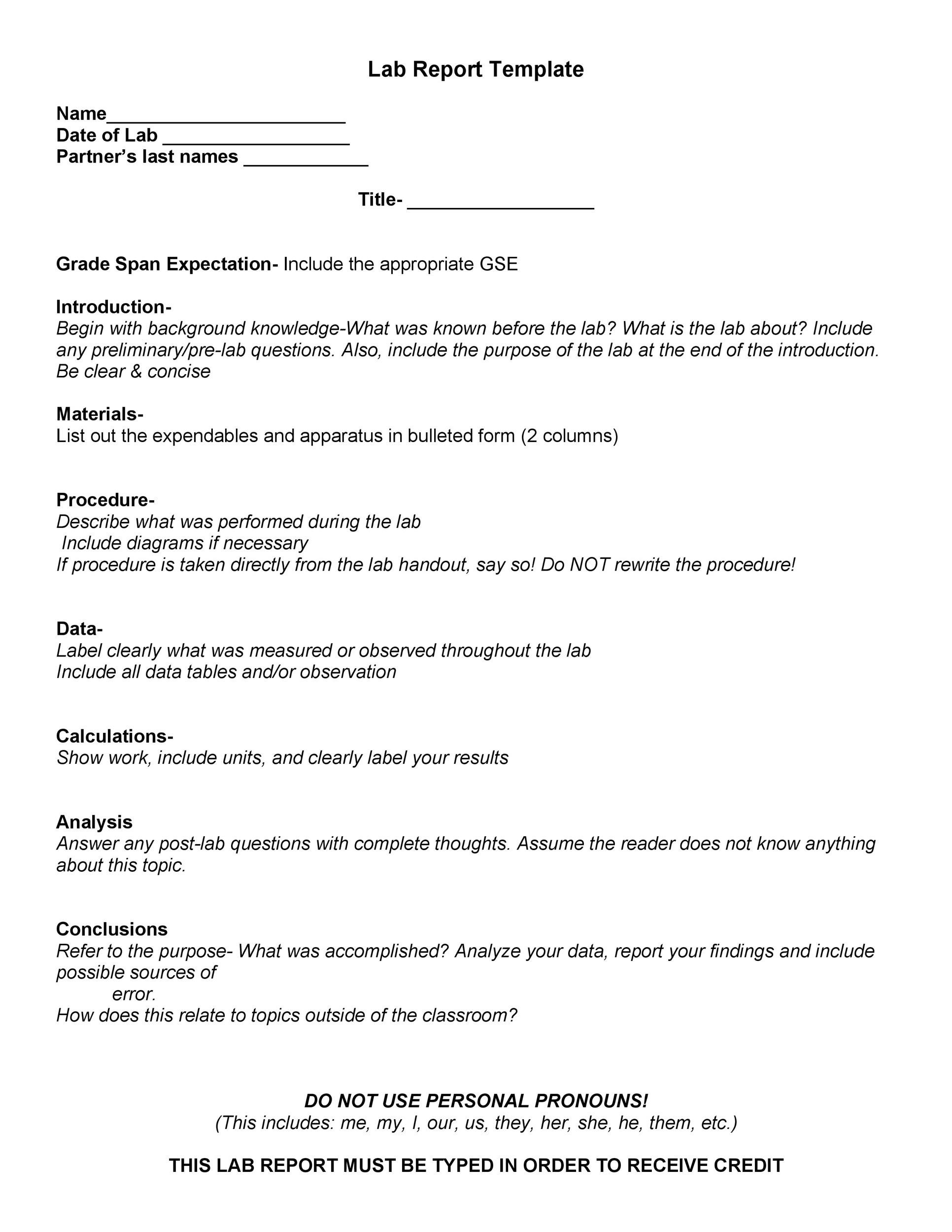 40 Lab Report Templates Format Examples Template Lab – Lab Report Template