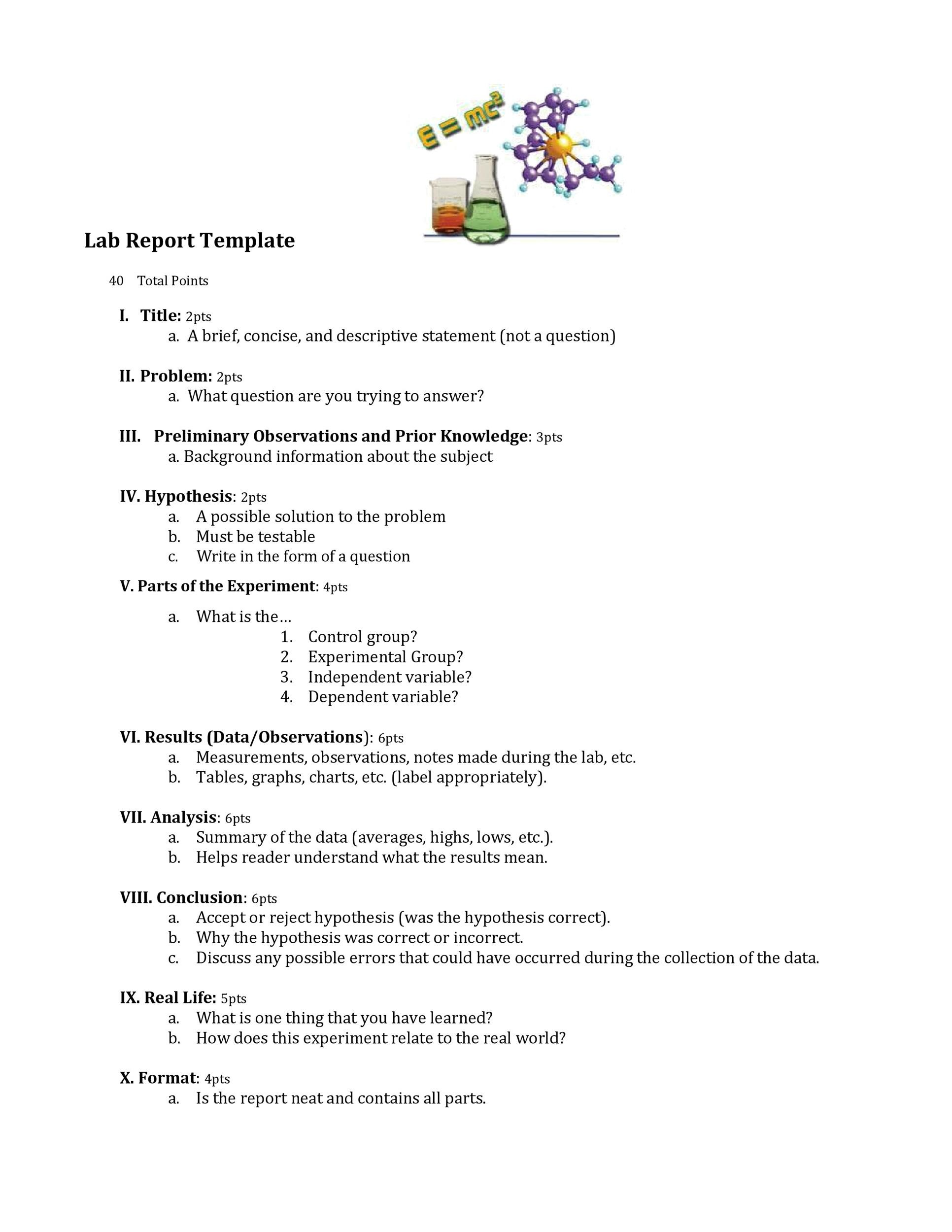 Free lab report template 23