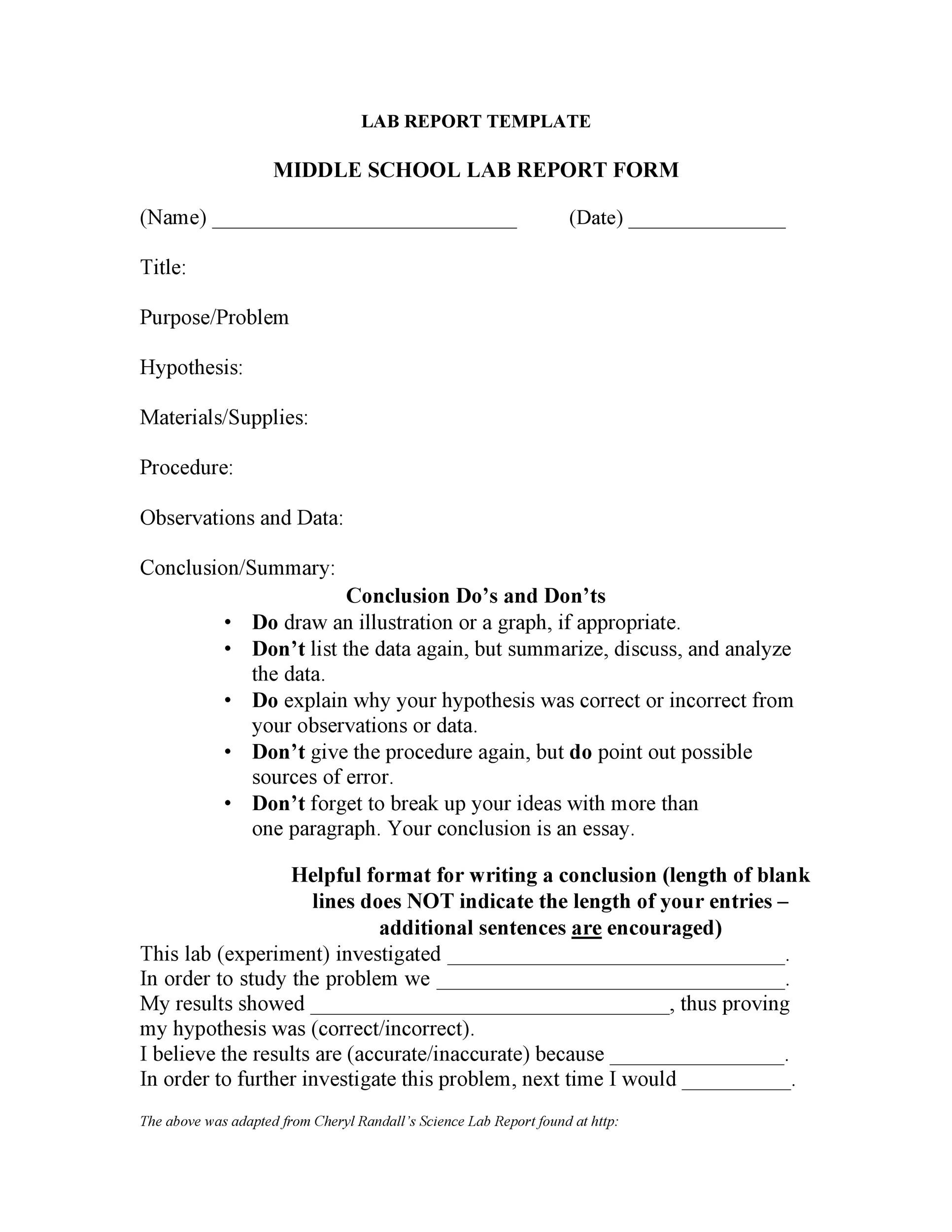 Free lab report template 25