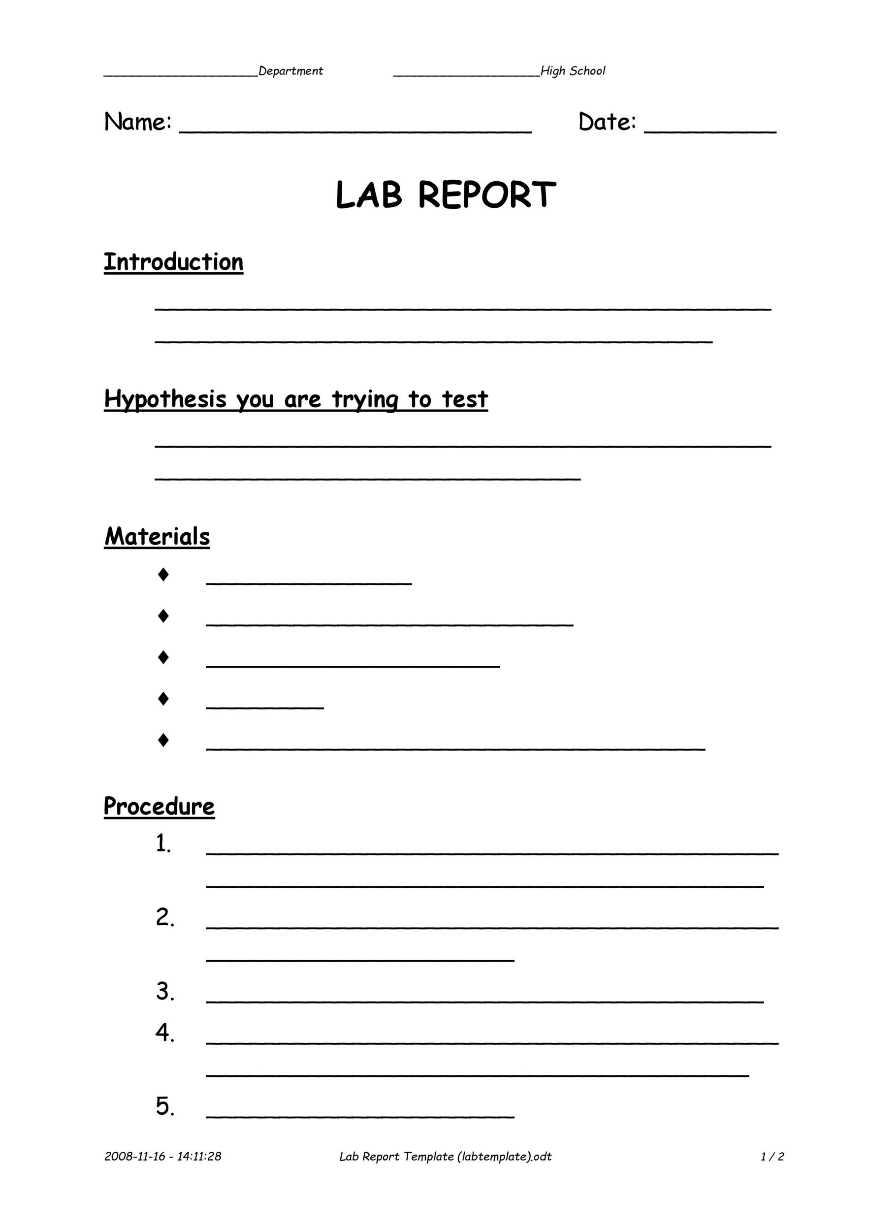40 Lab Report Templates Format Examples Template Lab