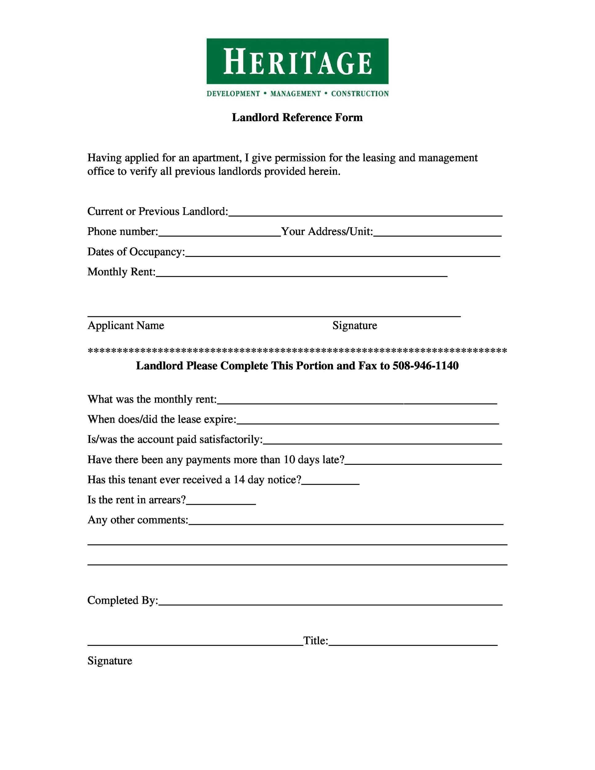 Printable Landlord Reference Letter 04