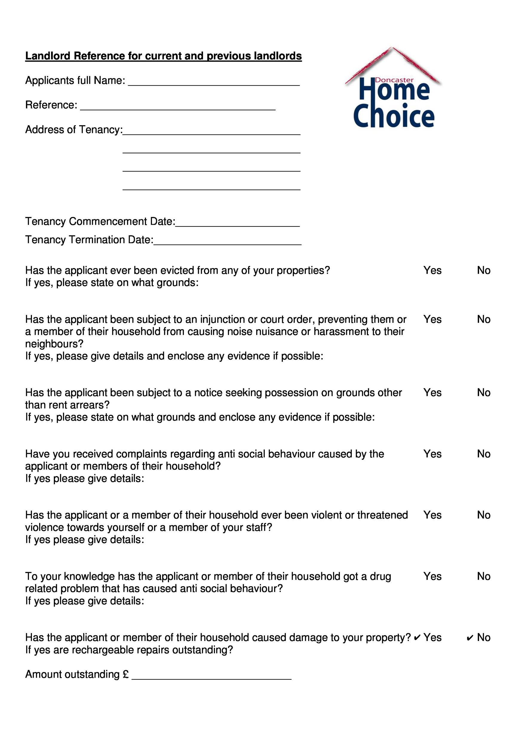 landlord reference form 40  Landlord Reference Letters