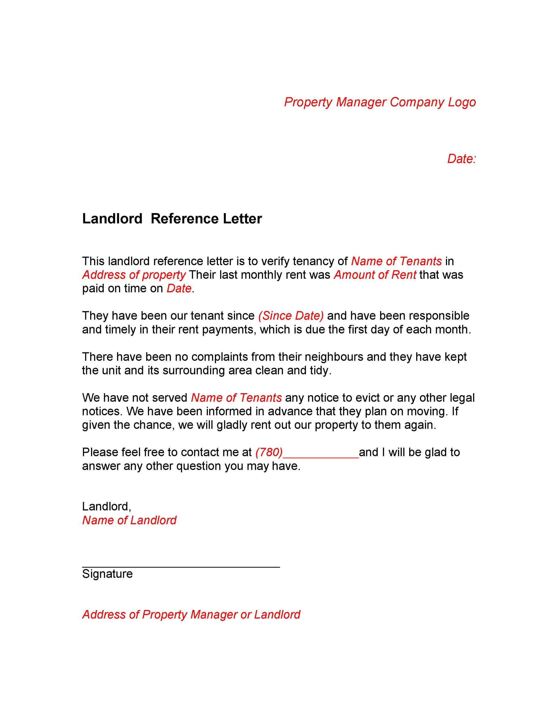 40 landlord reference letters form samples template lab for Referance letter template
