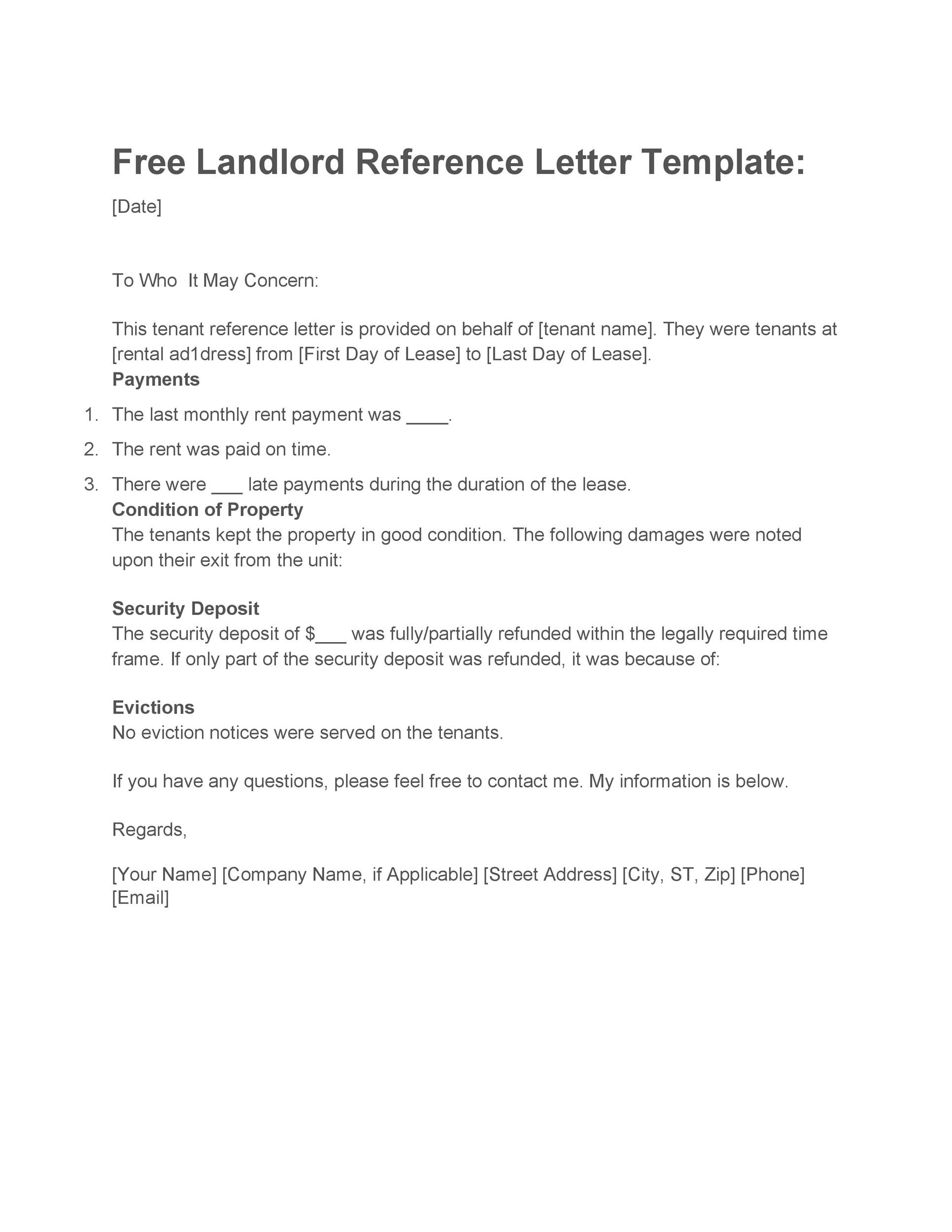40  landlord reference letters  u0026 form samples