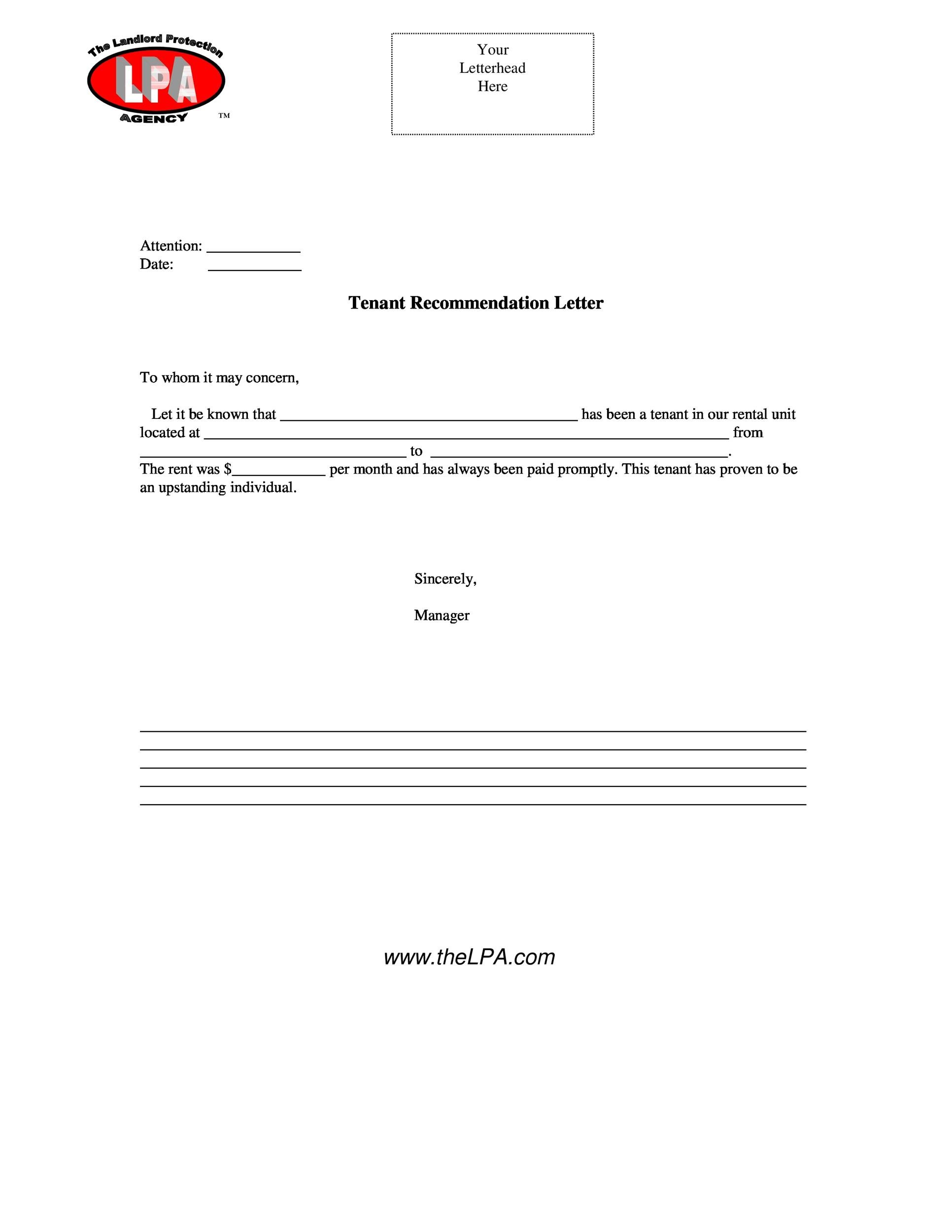 Printable Landlord Reference Letter 29