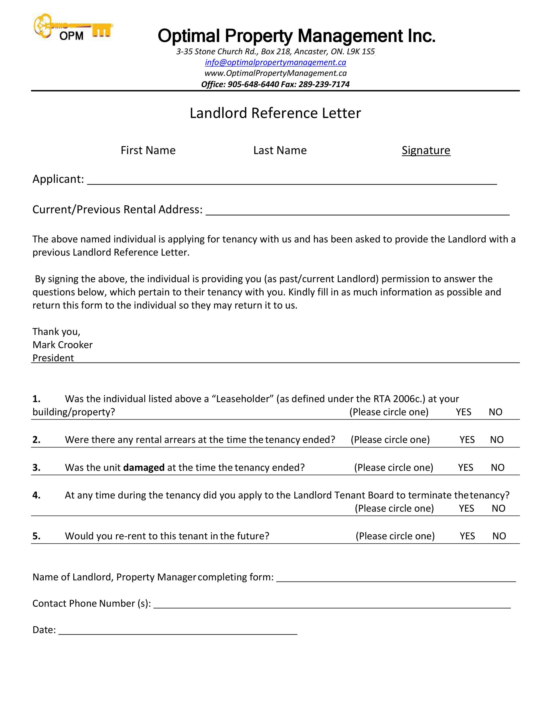 Free landlord reference letter 30