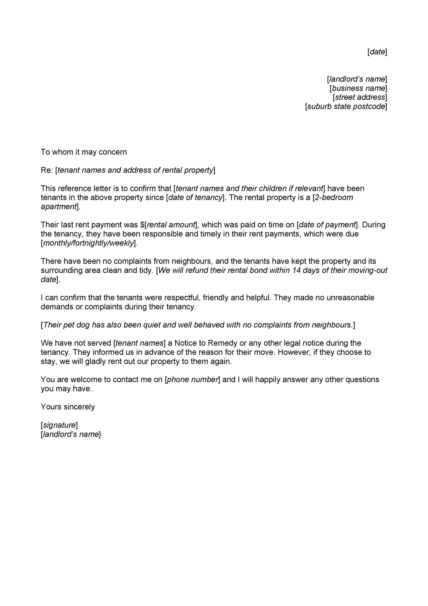 Free landlord reference letter 36