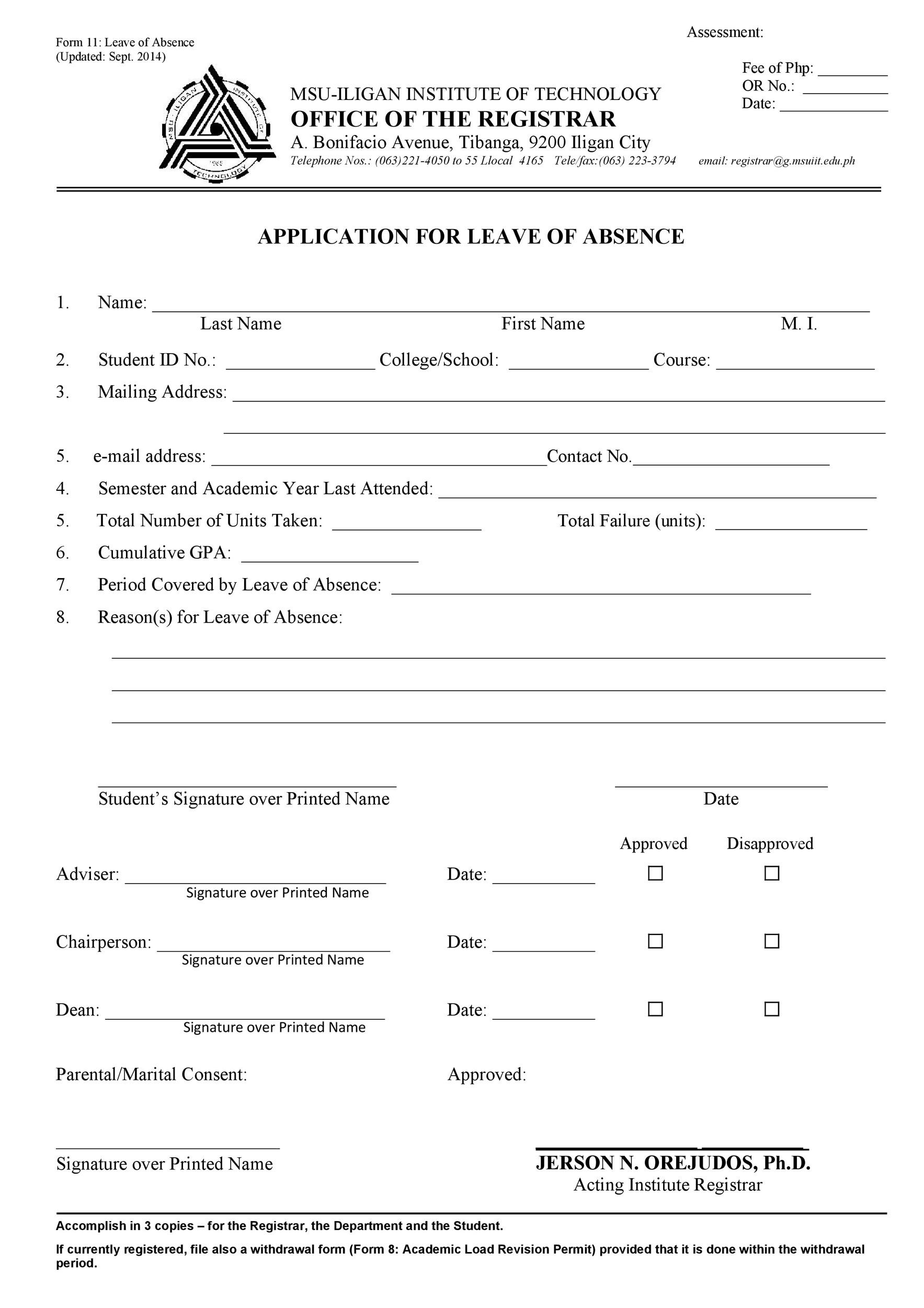 Free leave of absence template 22