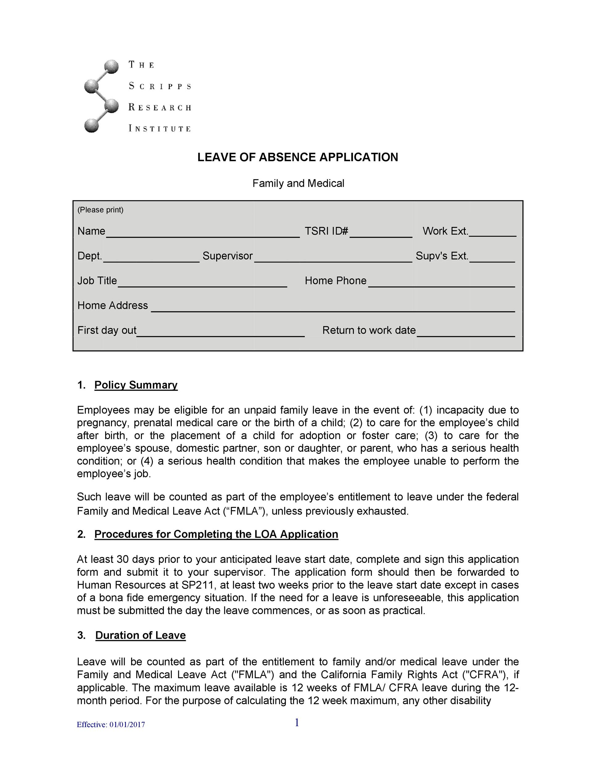 Free leave of absence template 30