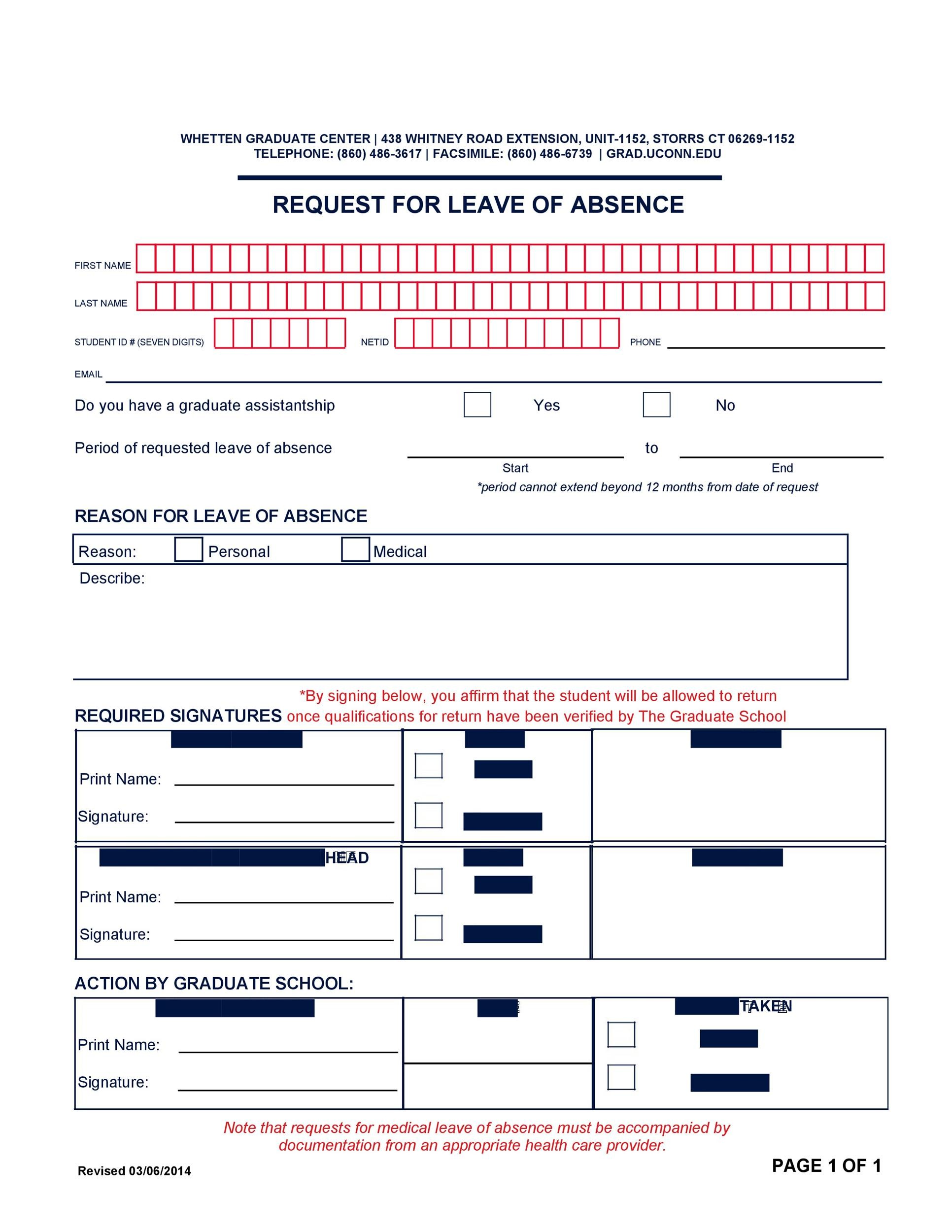 Free leave of absence template 34