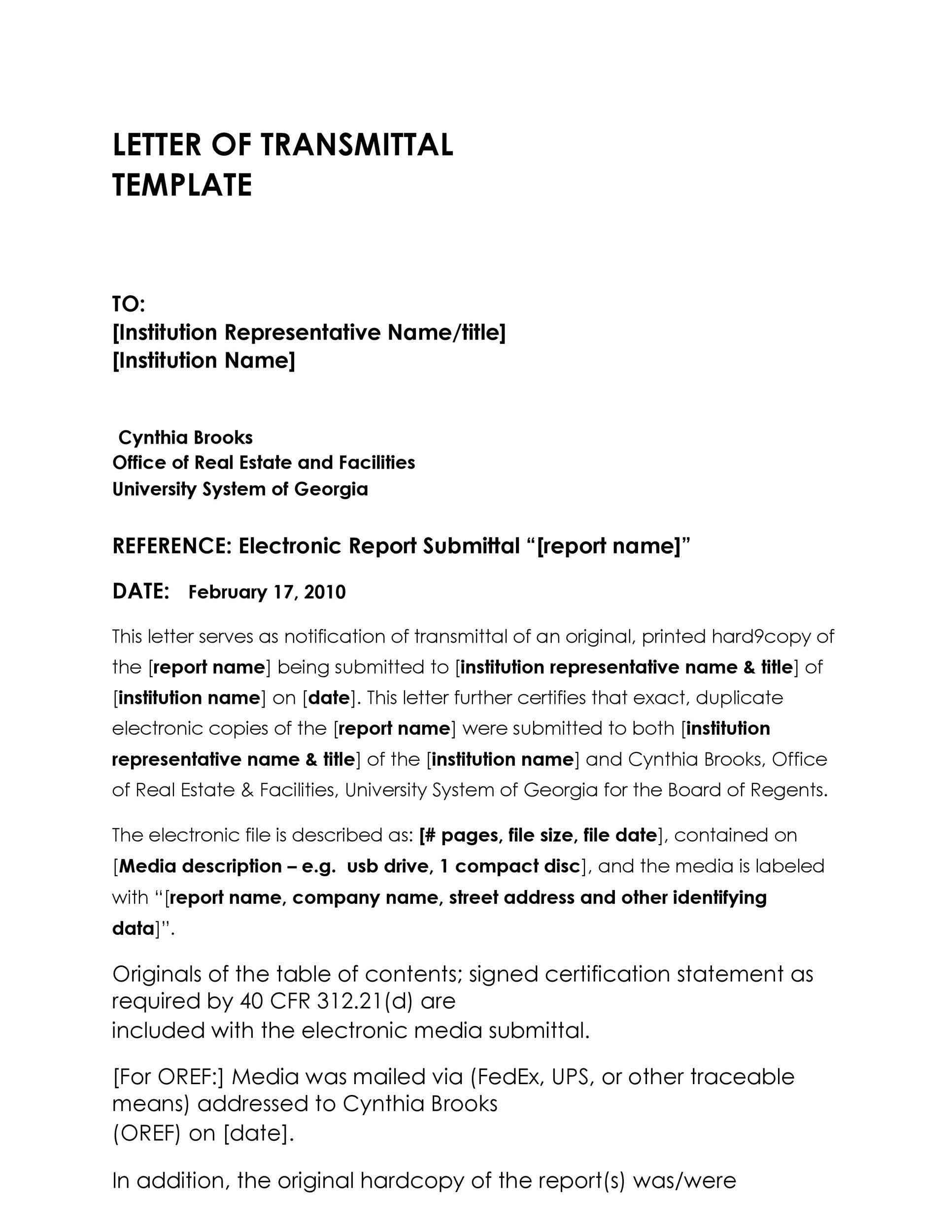 Printable Letter Of Transmittal Template 09  Letter Of Transmittal Sample