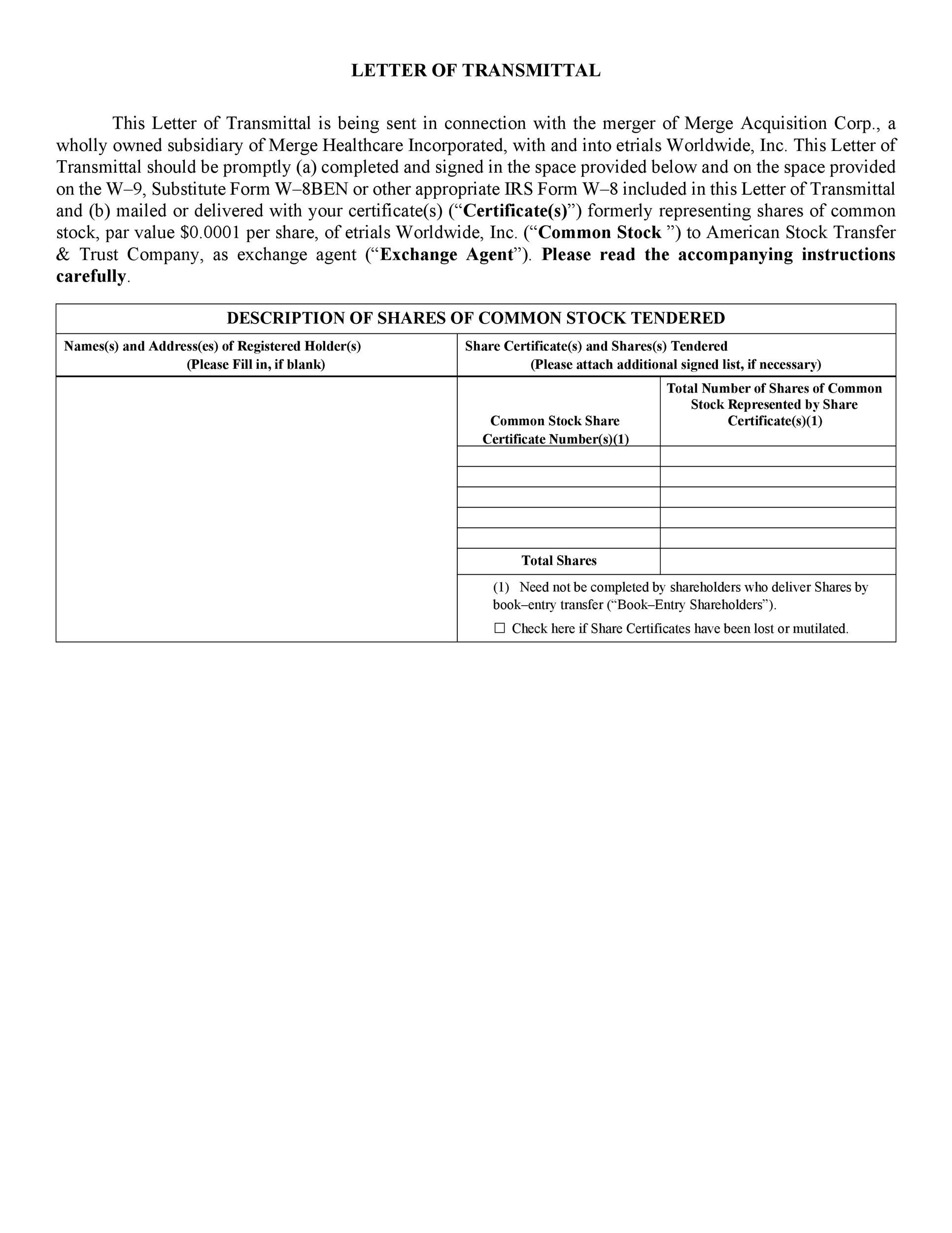 Free letter of transmittal template 12