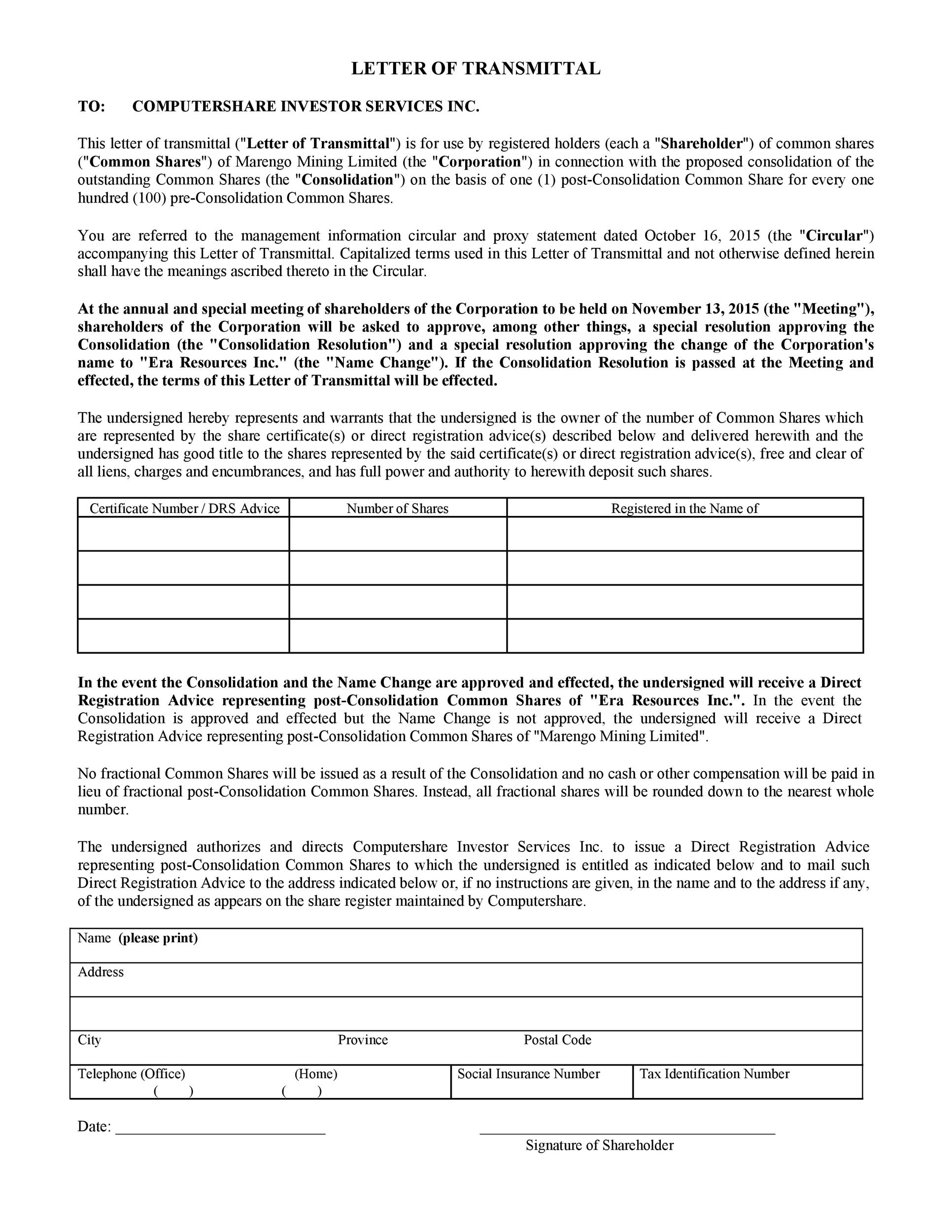 Free letter of transmittal template 16